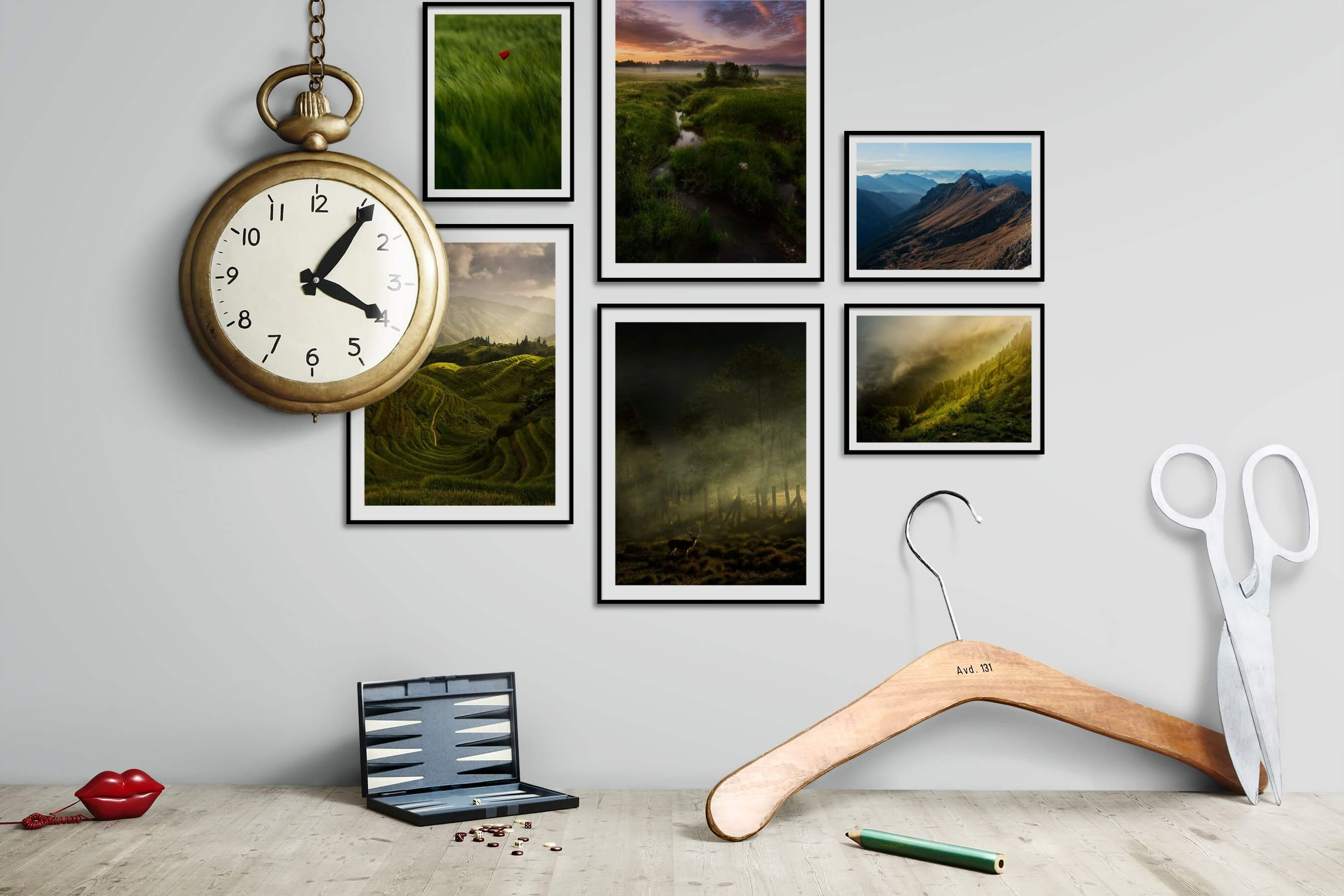 Gallery wall idea with six framed pictures arranged on a wall depicting For the Minimalist, Flowers & Plants, Country Life, Nature, and Animals