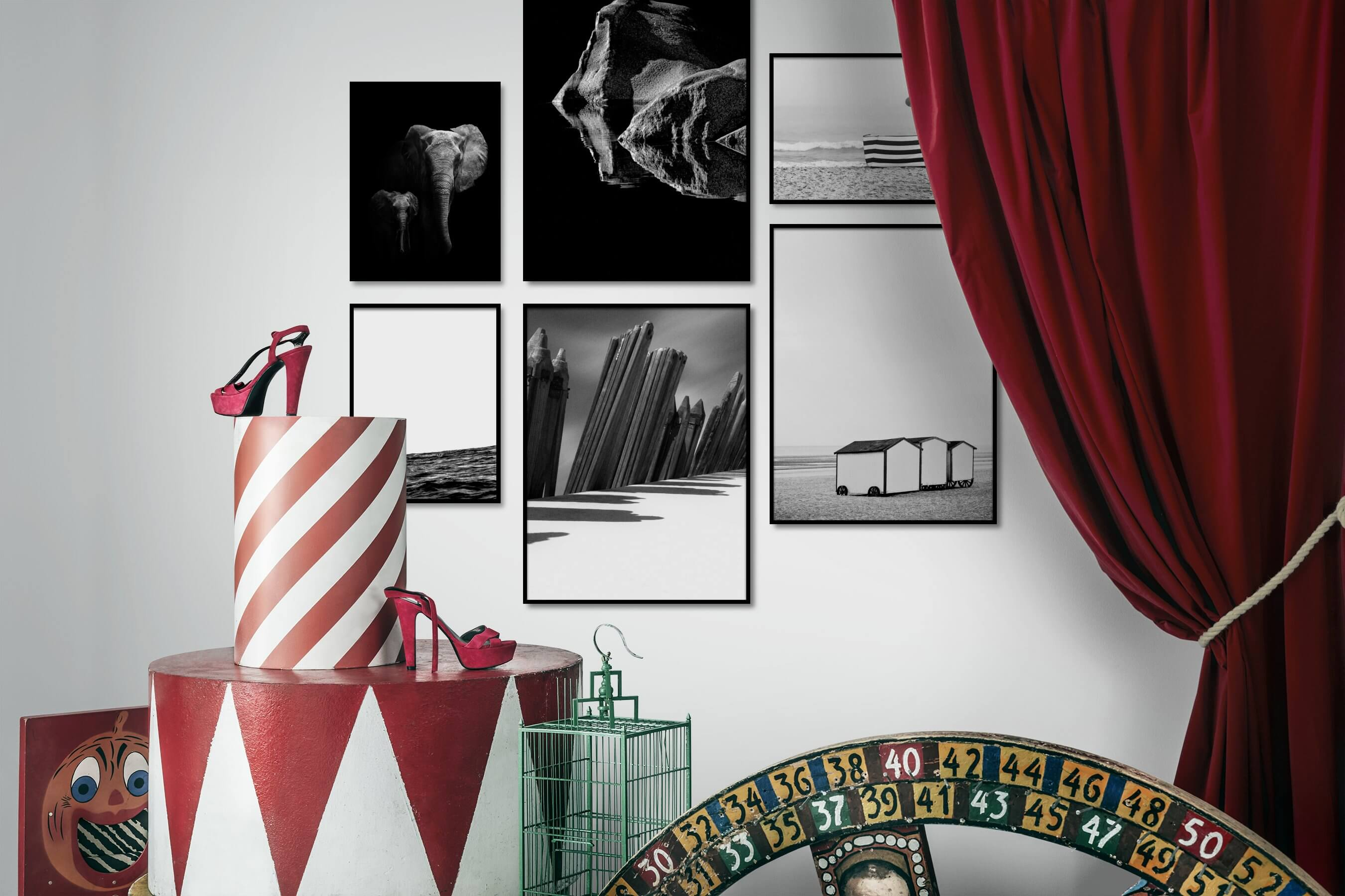 Gallery wall idea with six framed pictures arranged on a wall depicting Black & White, Dark Tones, For the Minimalist, Animals, Nature, Mindfulness, Bright Tones, Beach & Water, For the Moderate, and Vintage