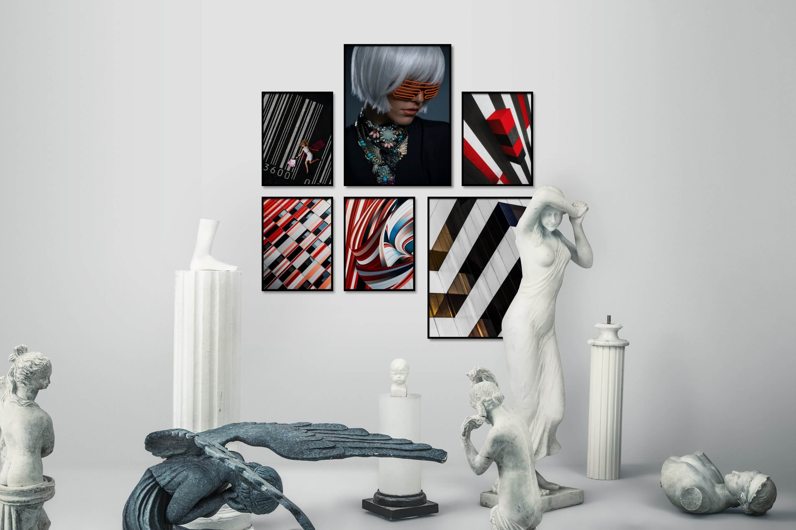Gallery wall idea with six framed pictures arranged on a wall depicting Fashion & Beauty, City Life, Colorful, For the Moderate, and For the Maximalist