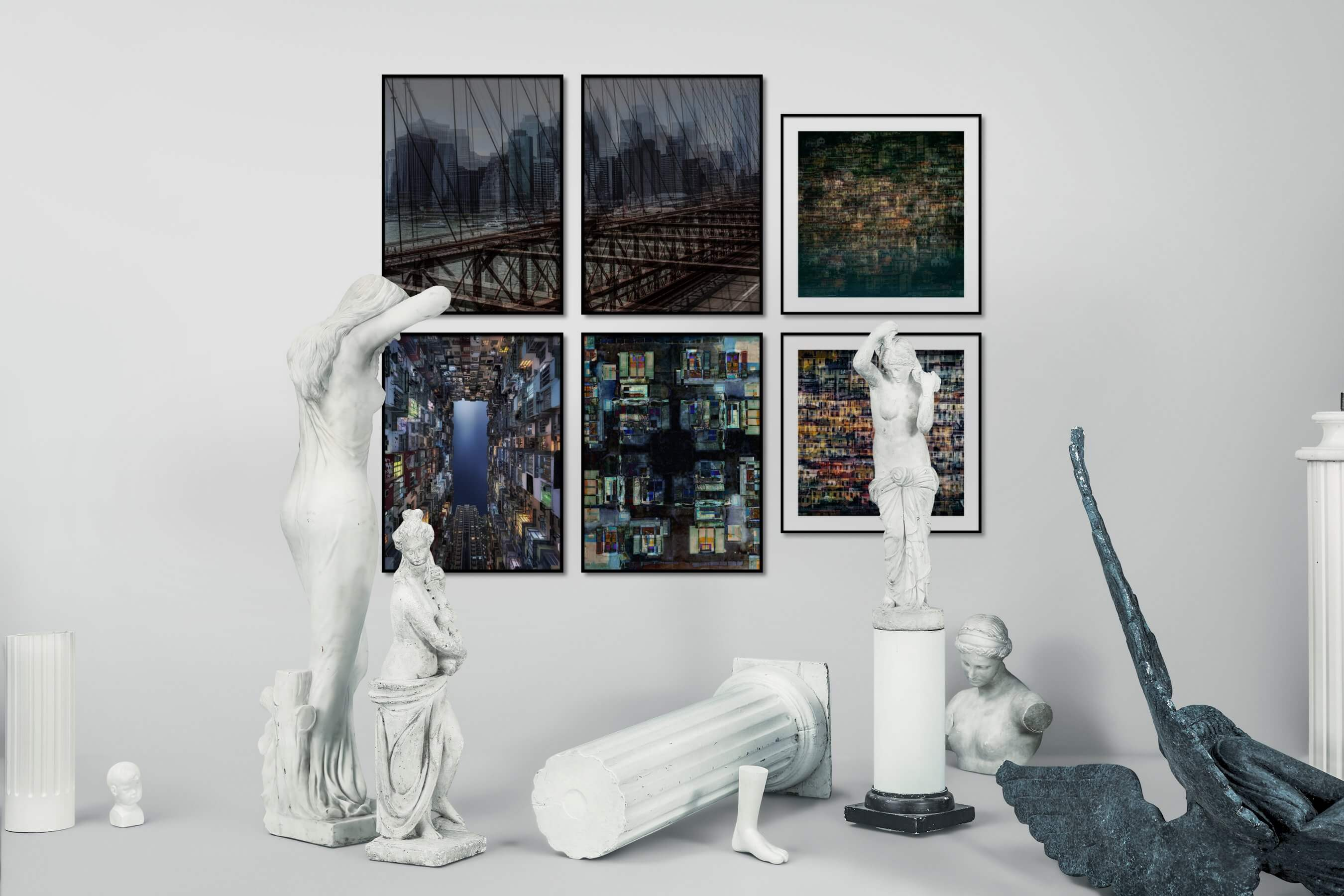 Gallery wall idea with six framed pictures arranged on a wall depicting For the Maximalist, City Life, and Americana