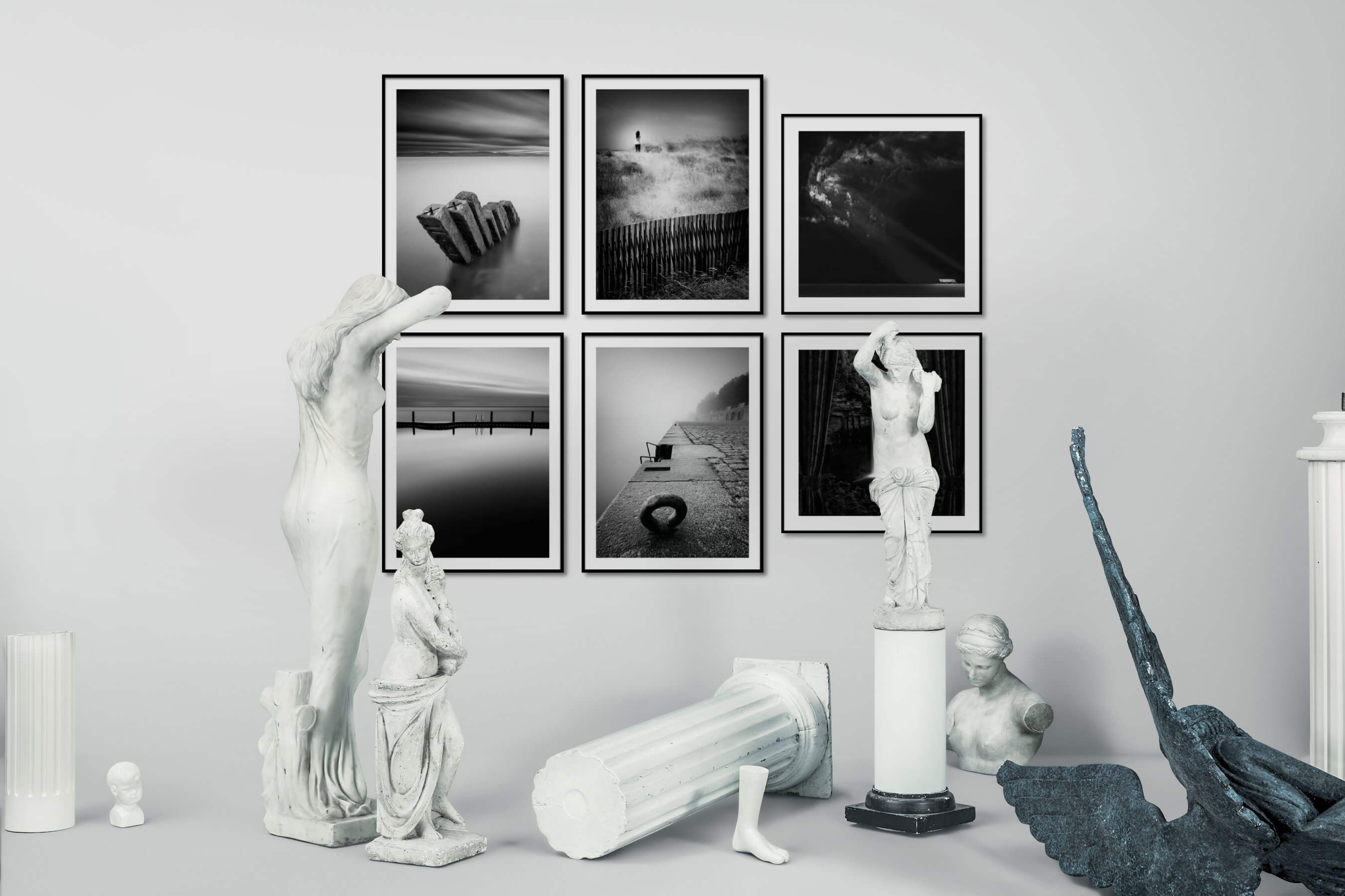 Gallery wall idea with six framed pictures arranged on a wall depicting Black & White, Mindfulness, Country Life, For the Minimalist, Beach & Water, and Nature