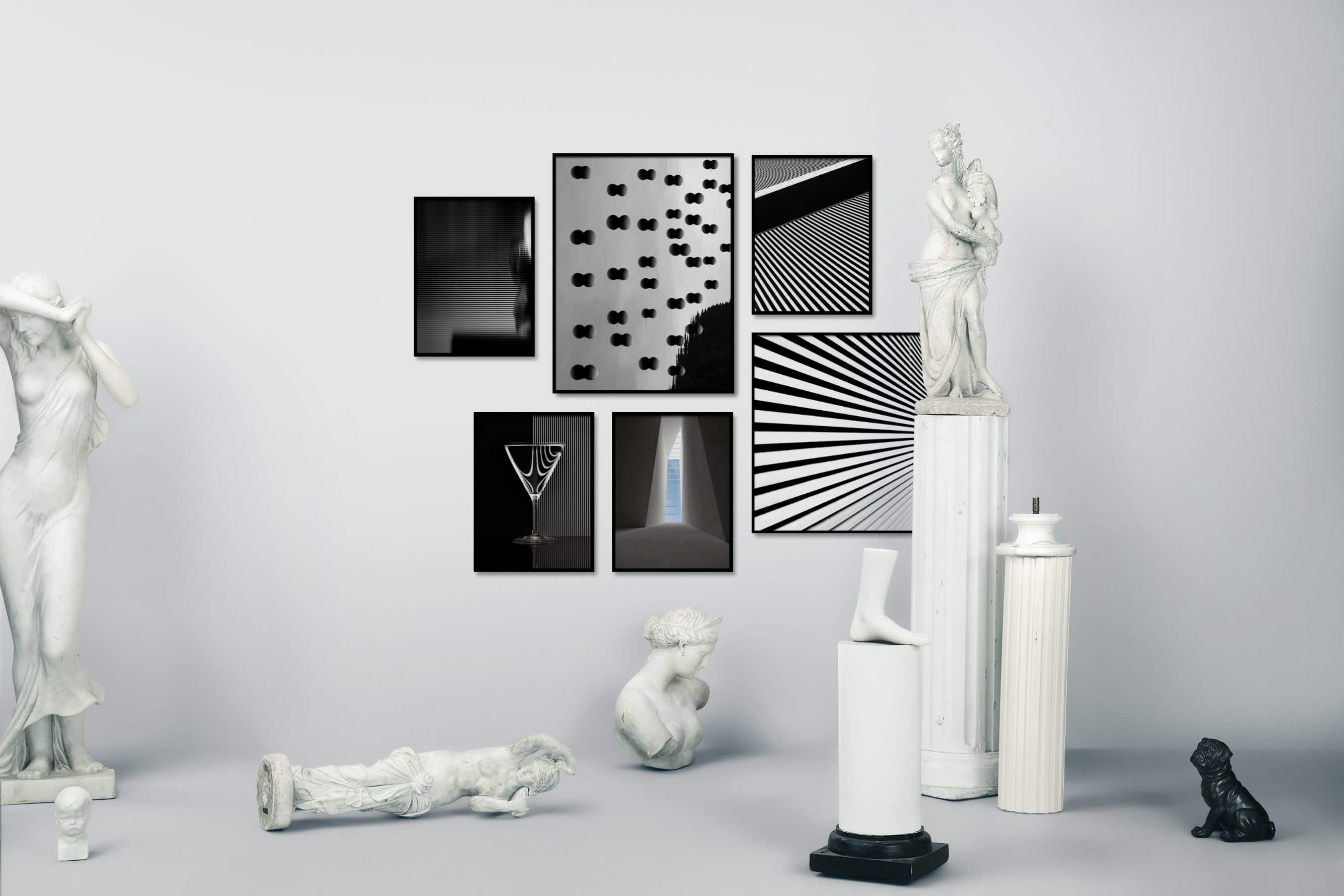 Gallery wall idea with six framed pictures arranged on a wall depicting Black & White, For the Moderate, and For the Maximalist