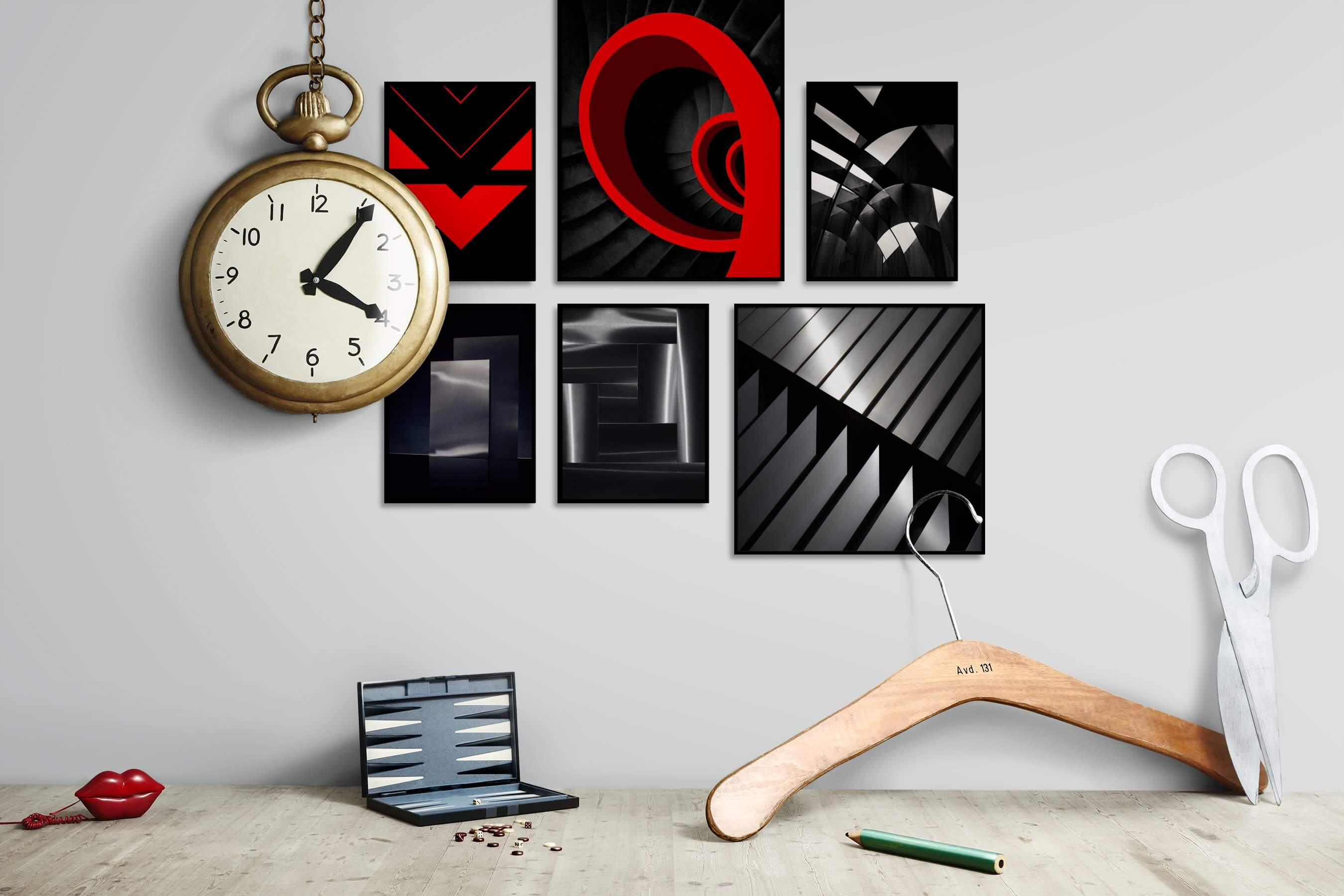 Gallery wall idea with six framed pictures arranged on a wall depicting Dark Tones, For the Minimalist, Colorful, For the Moderate, Black & White, and For the Maximalist