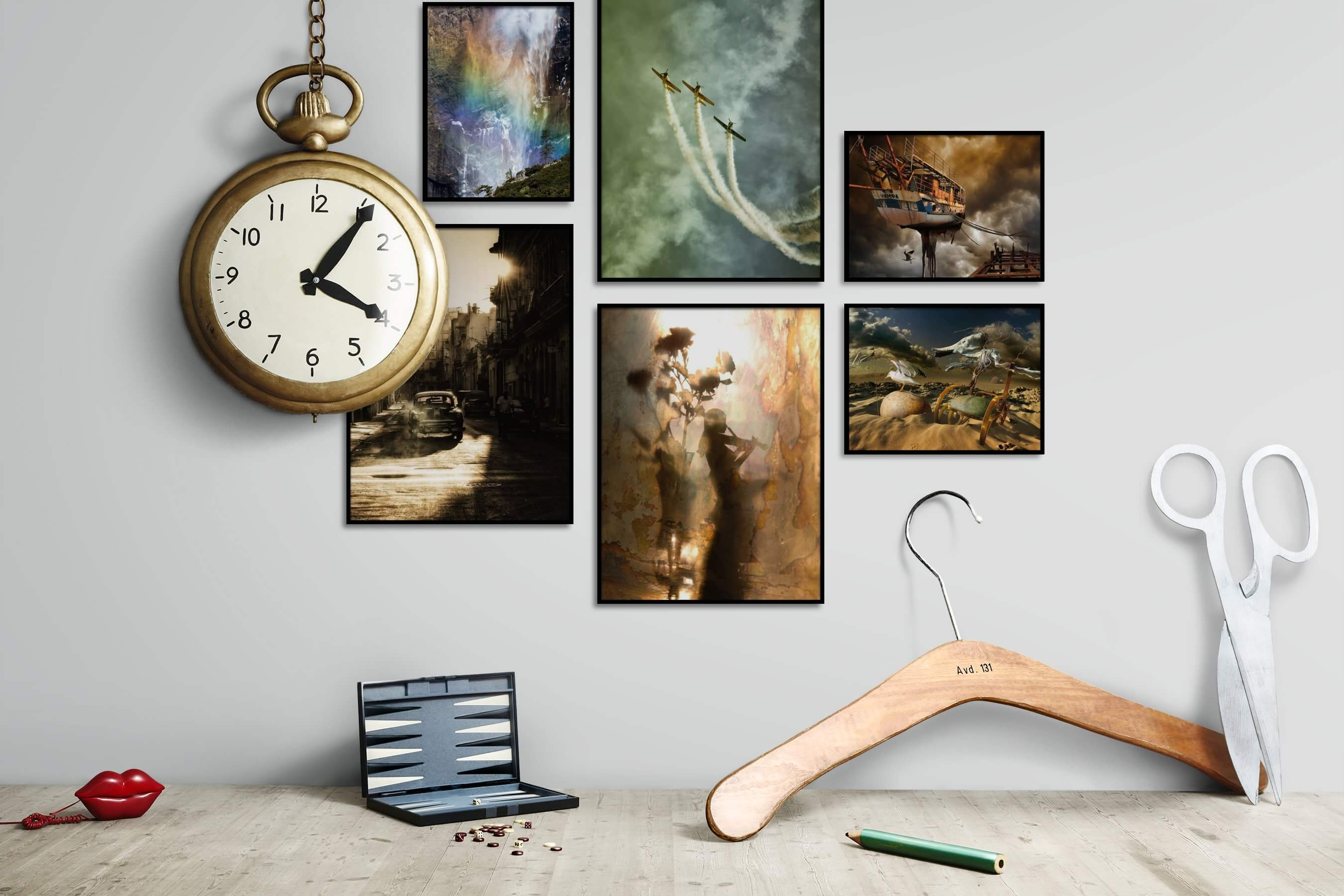 Gallery wall idea with six framed pictures arranged on a wall depicting Nature, For the Moderate, City Life, Vintage, and Artsy