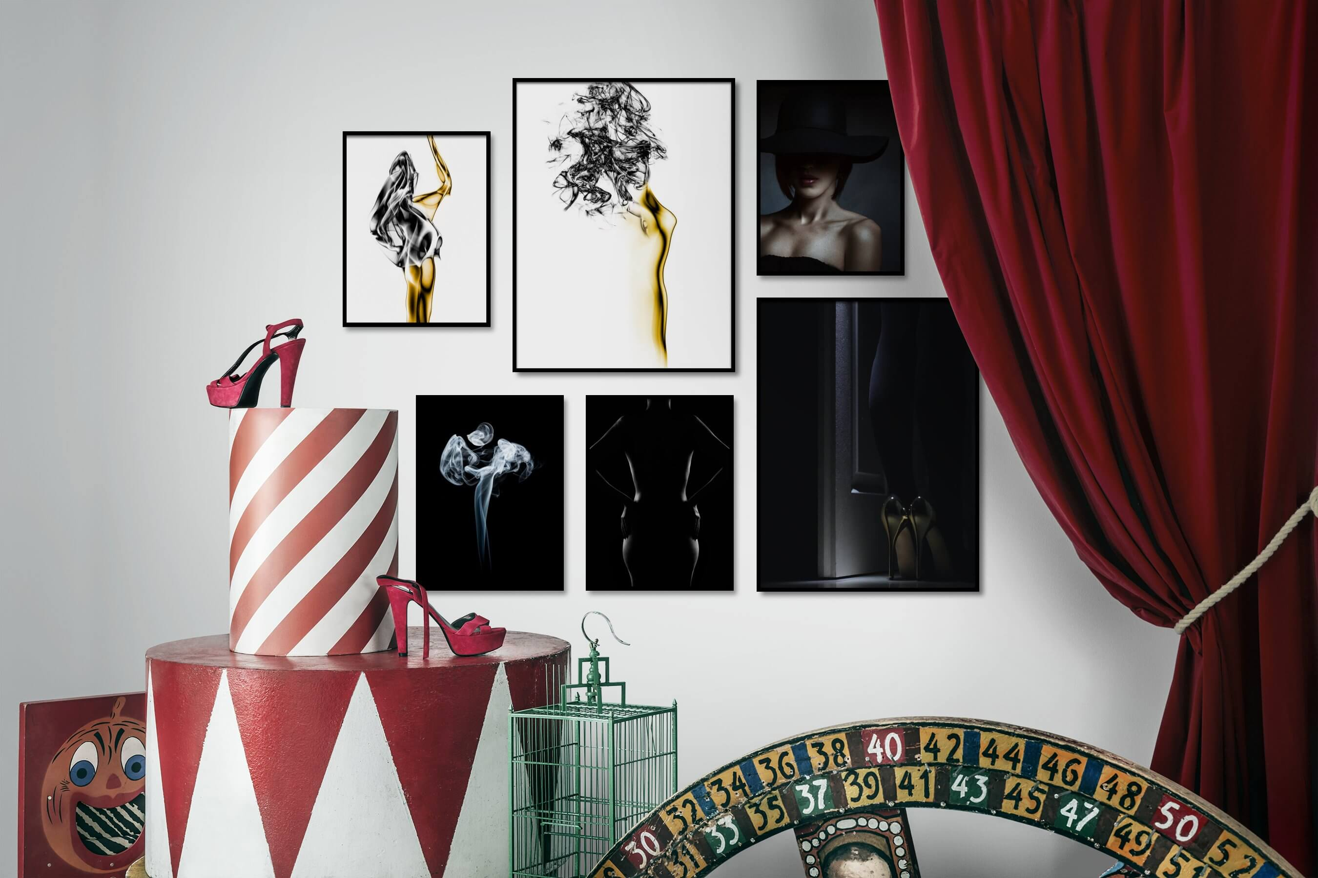 Gallery wall idea with six framed pictures arranged on a wall depicting Fashion & Beauty, Bright Tones, For the Minimalist, Dark Tones, Black & White, and For the Moderate