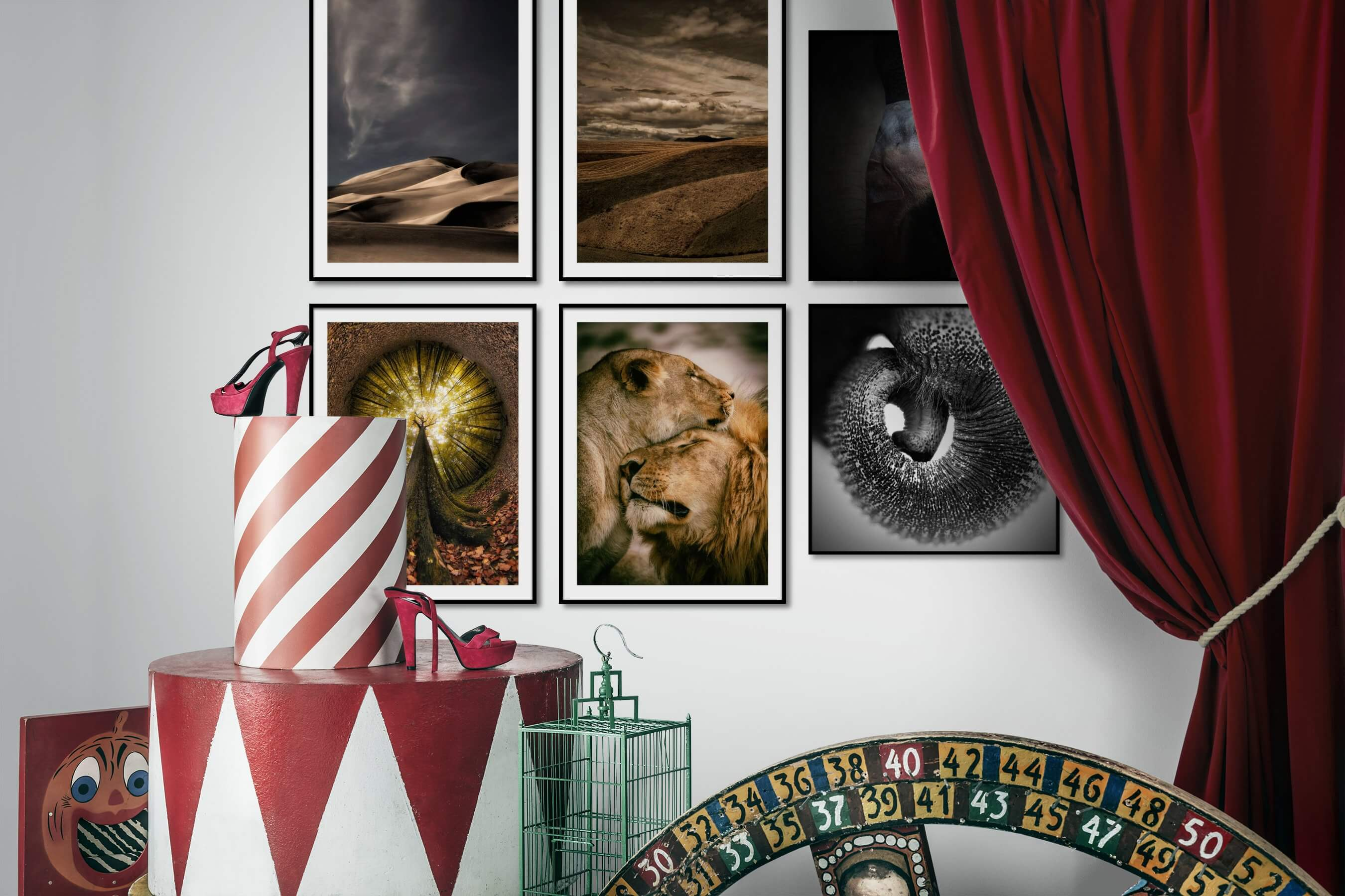Gallery wall idea with six framed pictures arranged on a wall depicting For the Moderate, Nature, Country Life, For the Maximalist, Animals, and Black & White