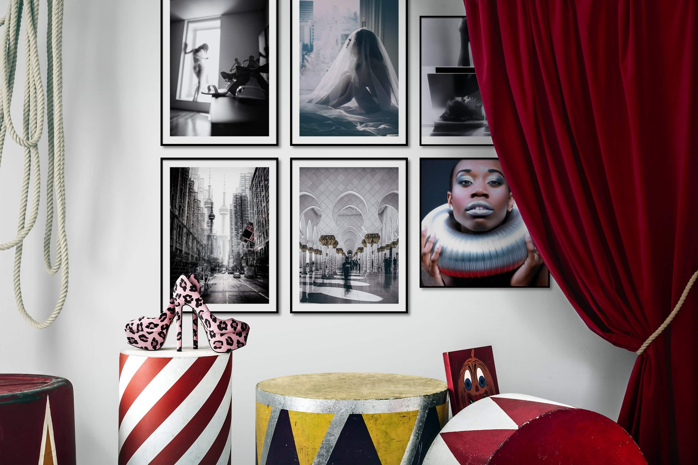 Gallery wall idea with six framed pictures arranged on a wall depicting Fashion & Beauty, Black & White, Artsy, City Life, and For the Maximalist