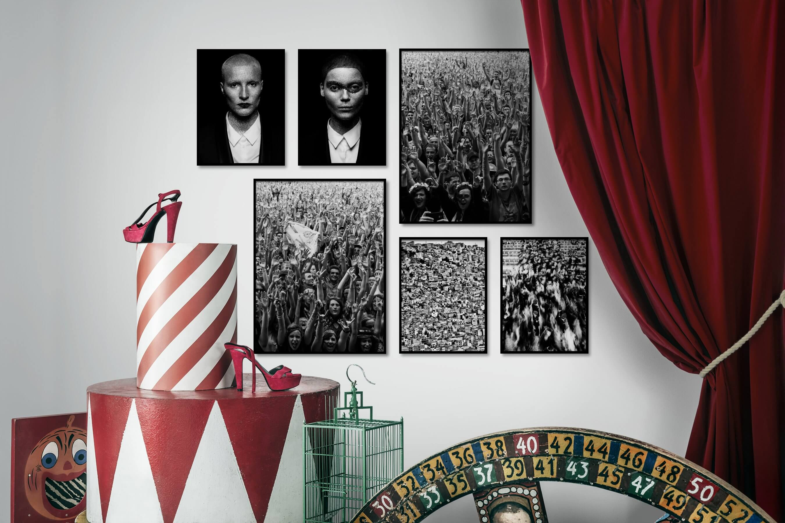 Gallery wall idea with six framed pictures arranged on a wall depicting Fashion & Beauty, Black & White, Dark Tones, For the Maximalist, and City Life