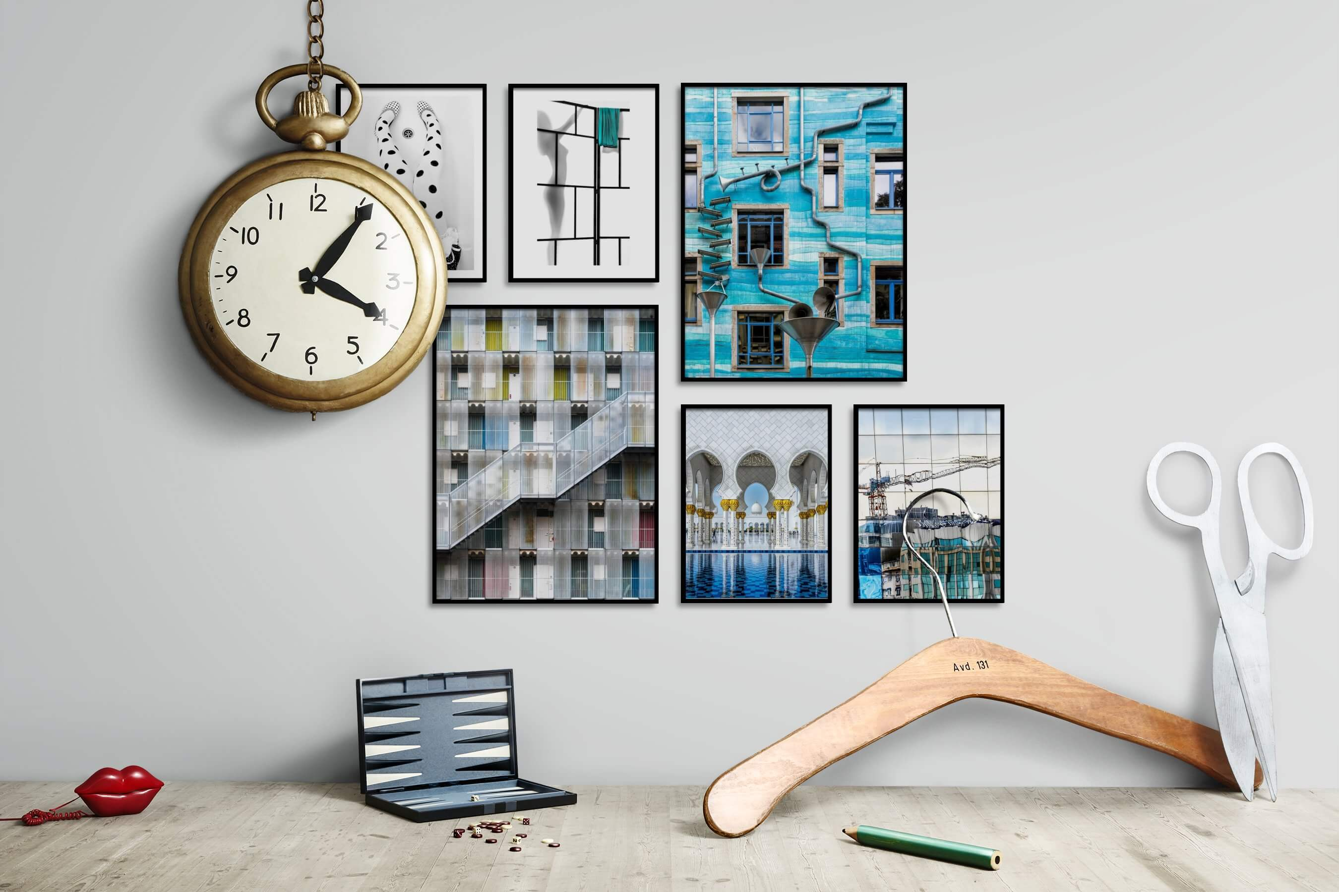 Gallery wall idea with six framed pictures arranged on a wall depicting Fashion & Beauty, Black & White, For the Moderate, For the Minimalist, For the Maximalist, and City Life