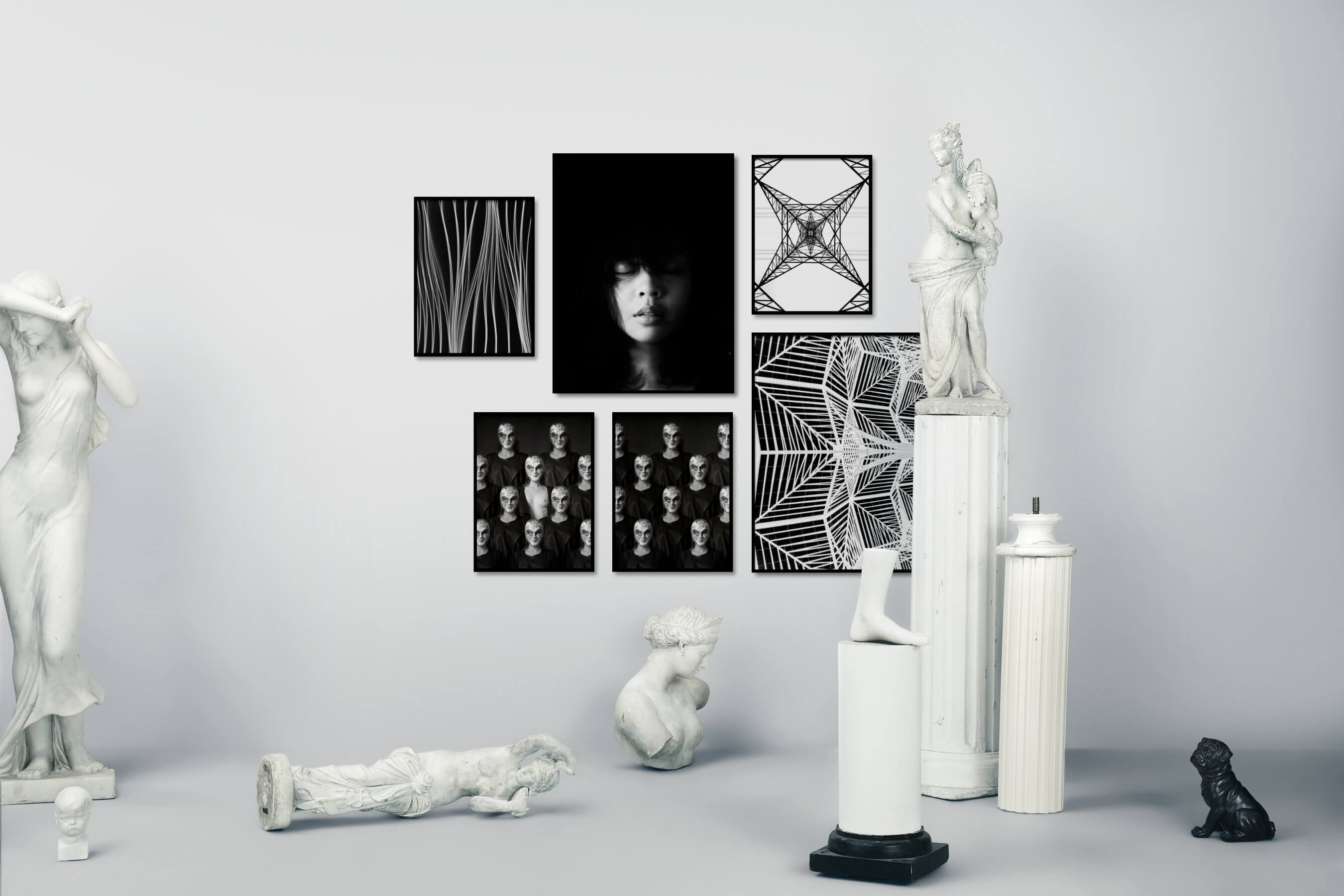 Gallery wall idea with six framed pictures arranged on a wall depicting Black & White, For the Moderate, Fashion & Beauty, Dark Tones, For the Minimalist, Artsy, Bold, and For the Maximalist