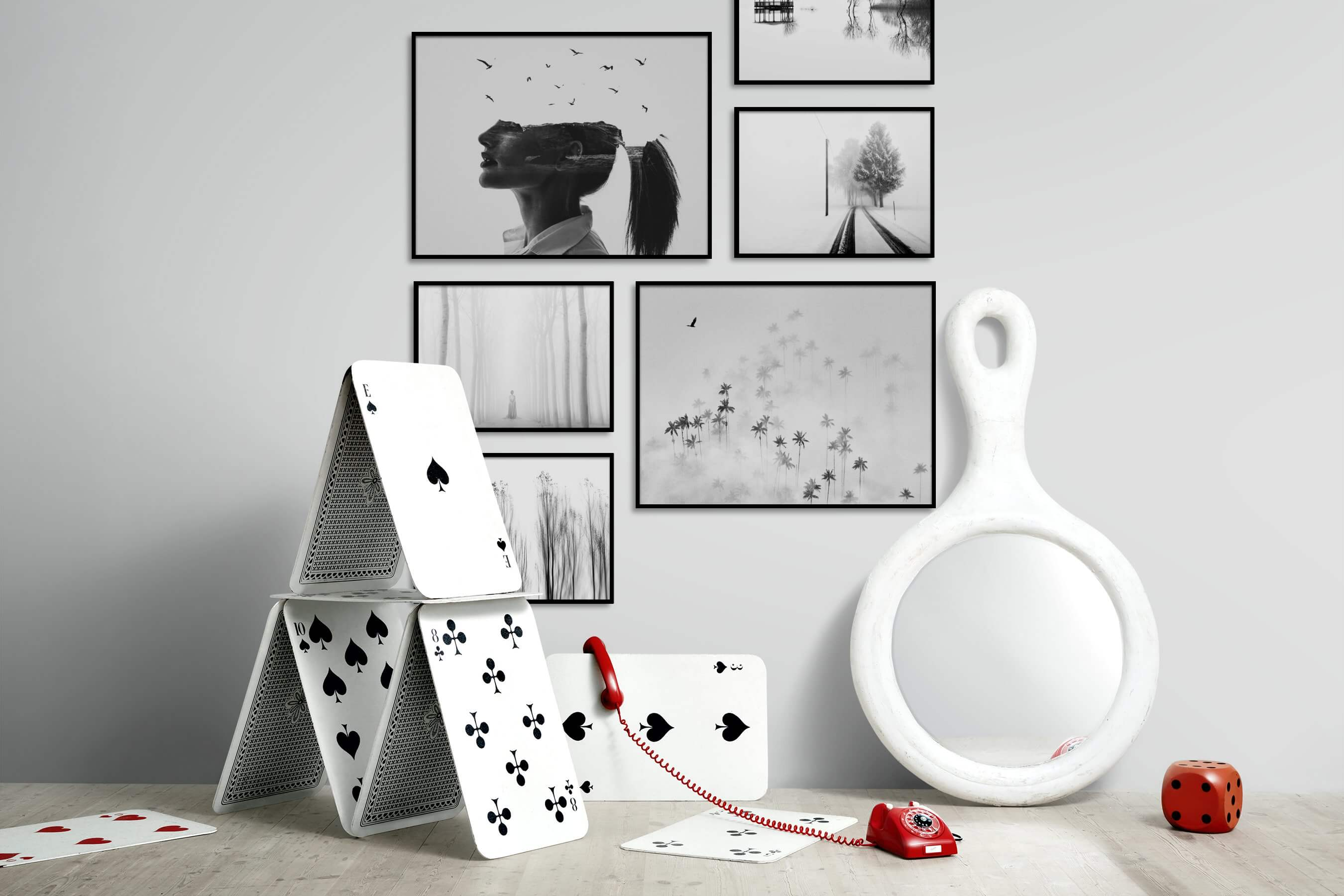 Gallery wall idea with six framed pictures arranged on a wall depicting Artsy, Black & White, For the Minimalist, Bright Tones, Country Life, Nature, Mindfulness, and For the Moderate