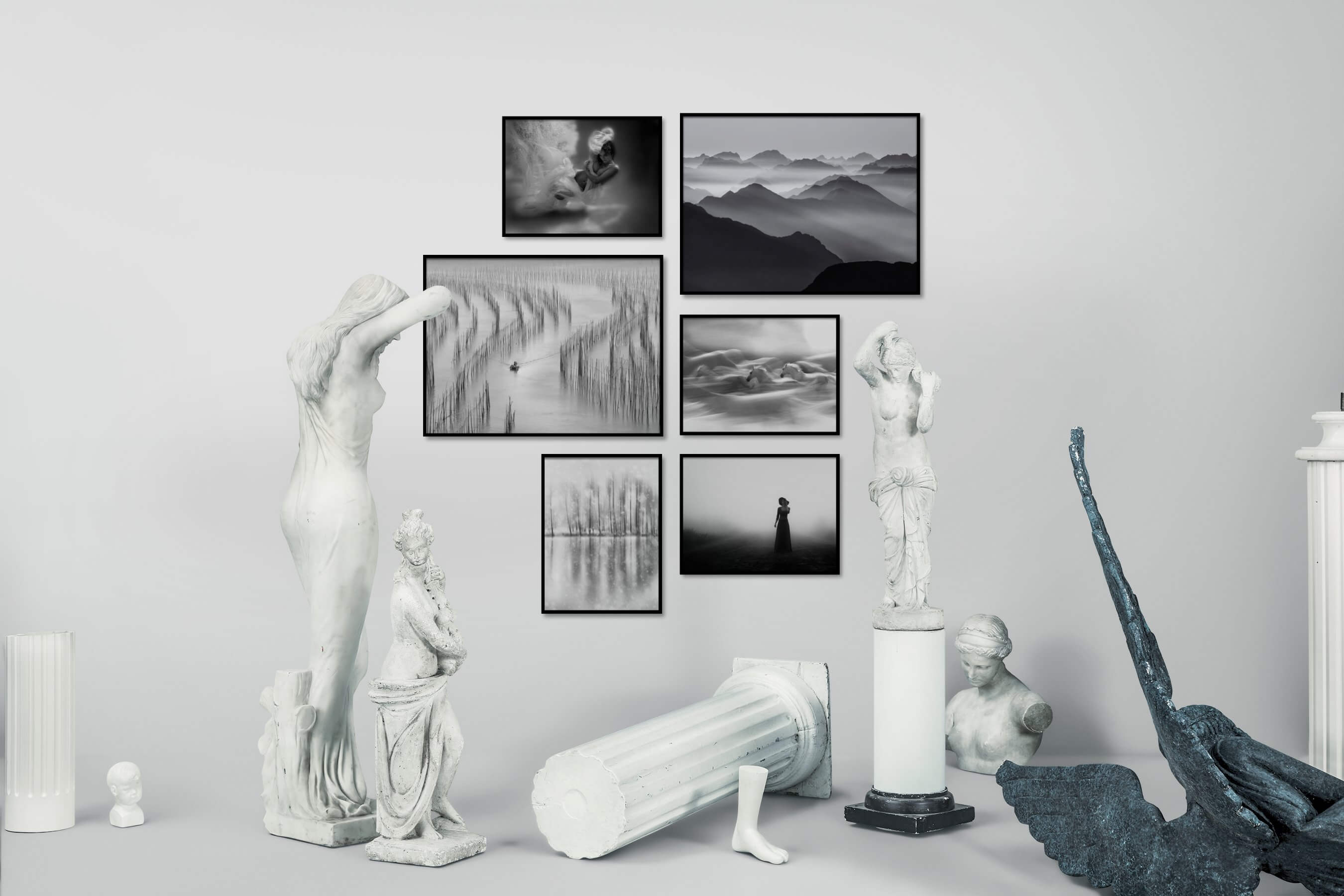Gallery wall idea with six framed pictures arranged on a wall depicting Fashion & Beauty, Black & White, Beach & Water, Nature, Mindfulness, For the Moderate, Animals, Country Life, and For the Minimalist