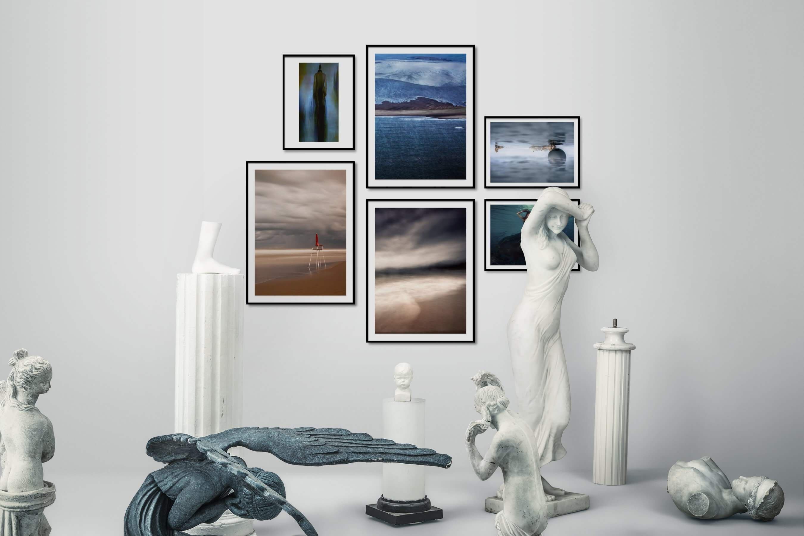 Gallery wall idea with six framed pictures arranged on a wall depicting Artsy, For the Moderate, Beach & Water, For the Minimalist, Mindfulness, and Fashion & Beauty