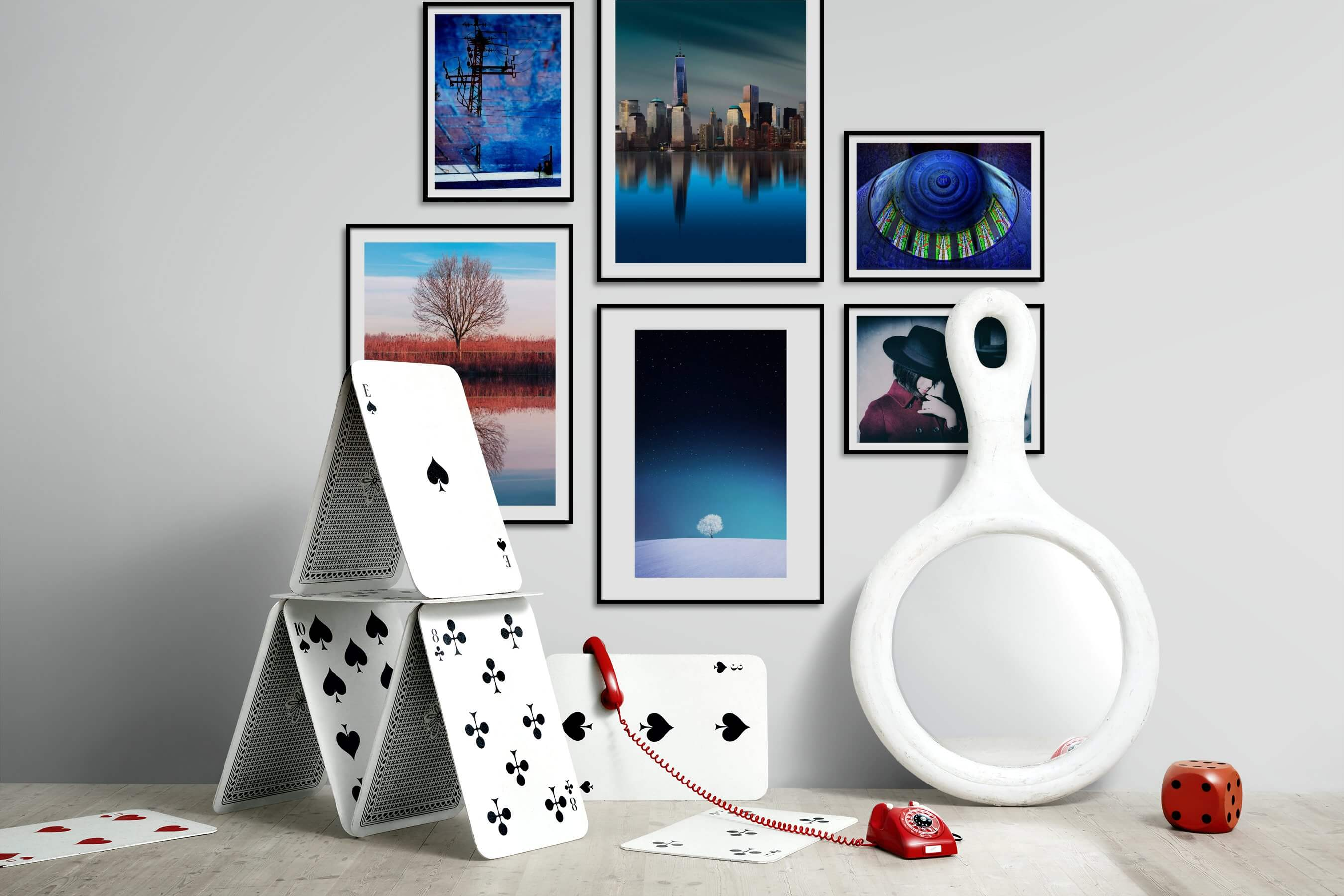 Gallery wall idea with six framed pictures arranged on a wall depicting For the Moderate, City Life, Americana, Country Life, For the Minimalist, Colorful, For the Maximalist, and Fashion & Beauty