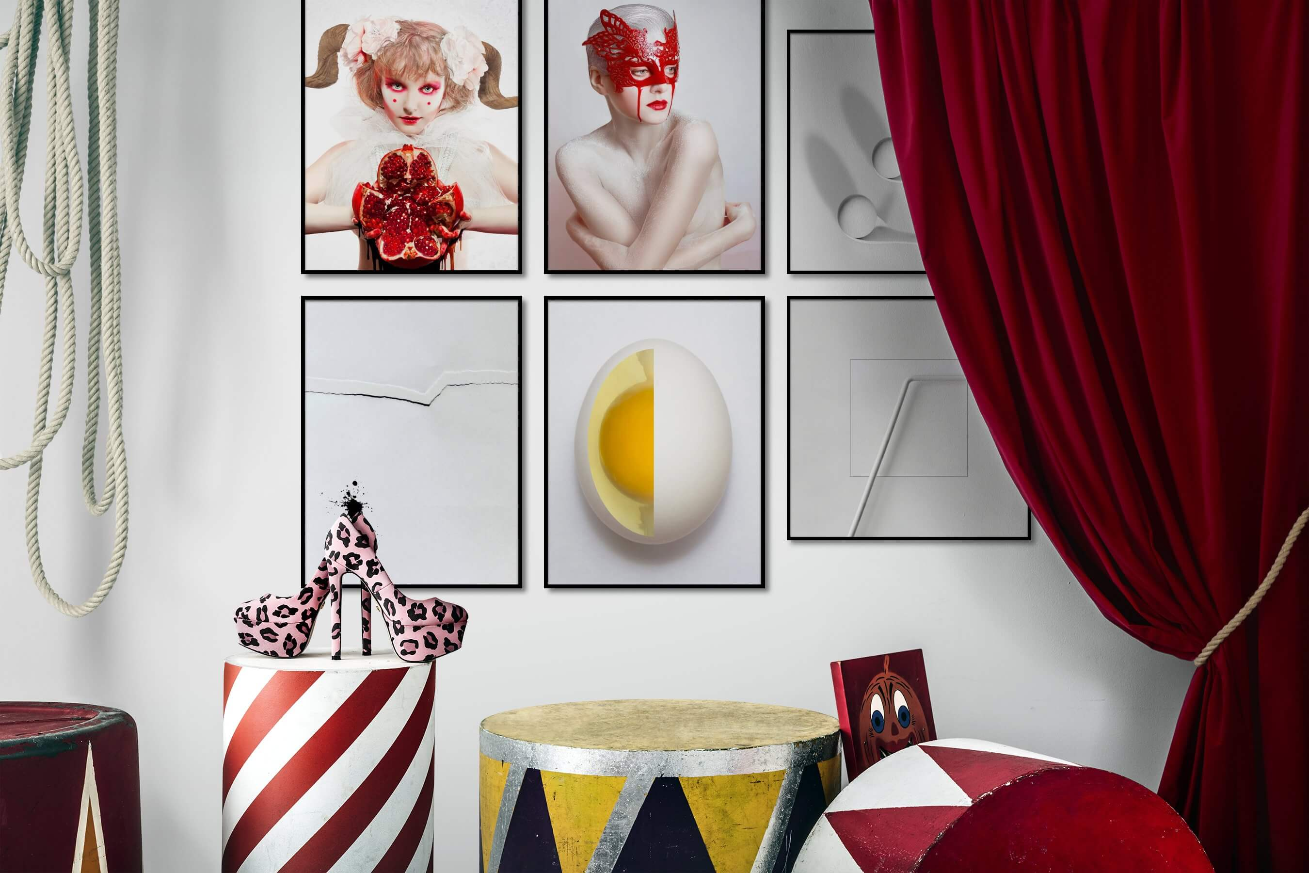 Gallery wall idea with six framed pictures arranged on a wall depicting Artsy, Fashion & Beauty, Black & White, For the Minimalist, and Bright Tones