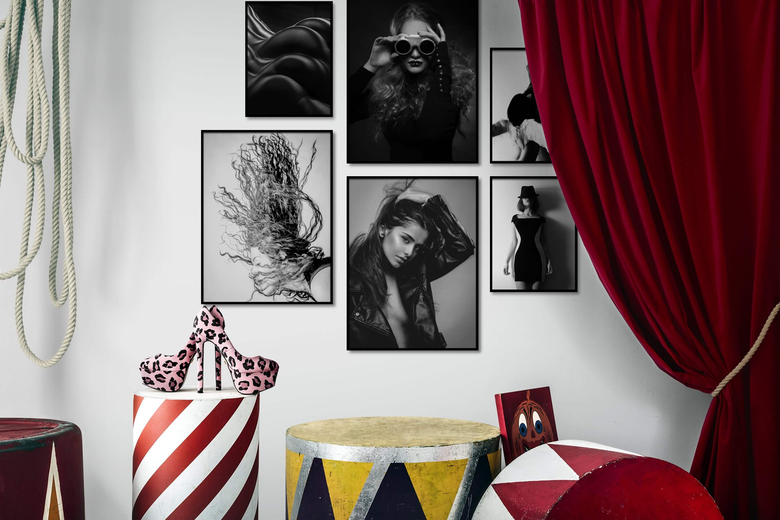 Gallery wall idea with six framed pictures arranged on a wall depicting Fashion & Beauty, Black & White, Dark Tones, and For the Moderate
