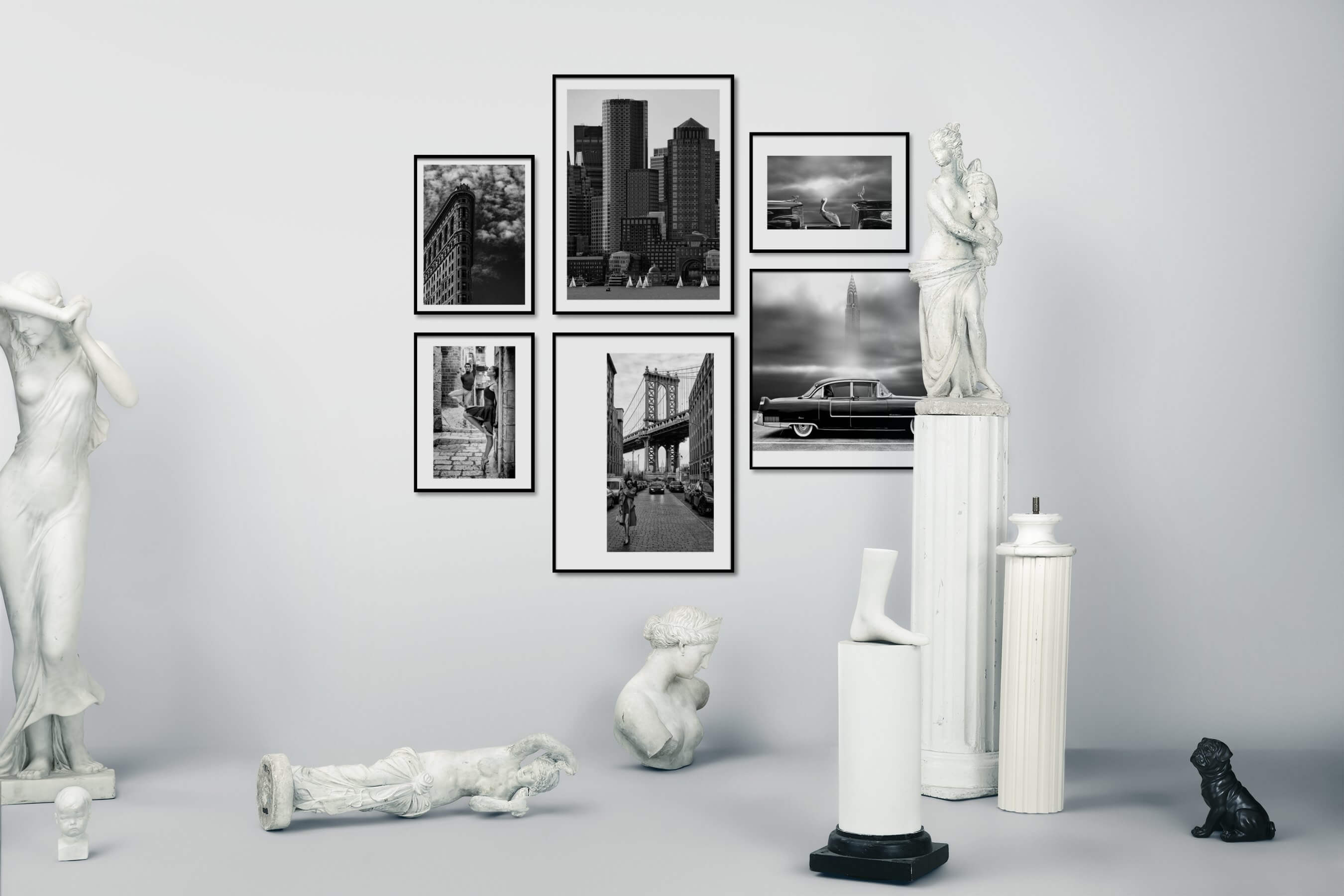 Gallery wall idea with six framed pictures arranged on a wall depicting Black & White, For the Moderate, City Life, Americana, Fashion & Beauty, Animals, and Vintage