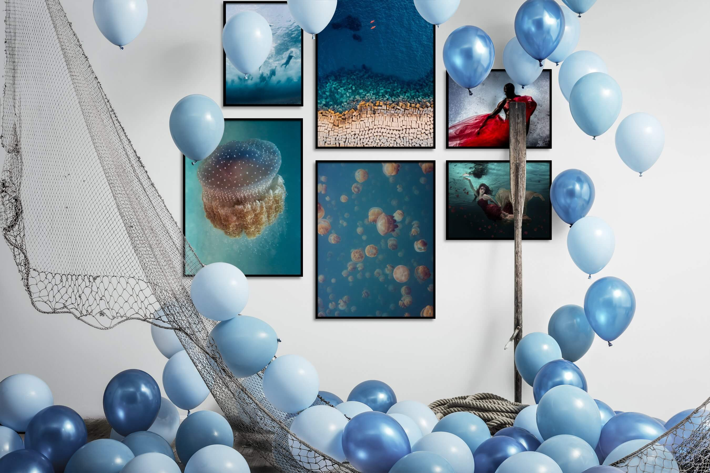 Gallery wall idea with six framed pictures arranged on a wall depicting Beach & Water, For the Moderate, Colorful, Animals, and Fashion & Beauty