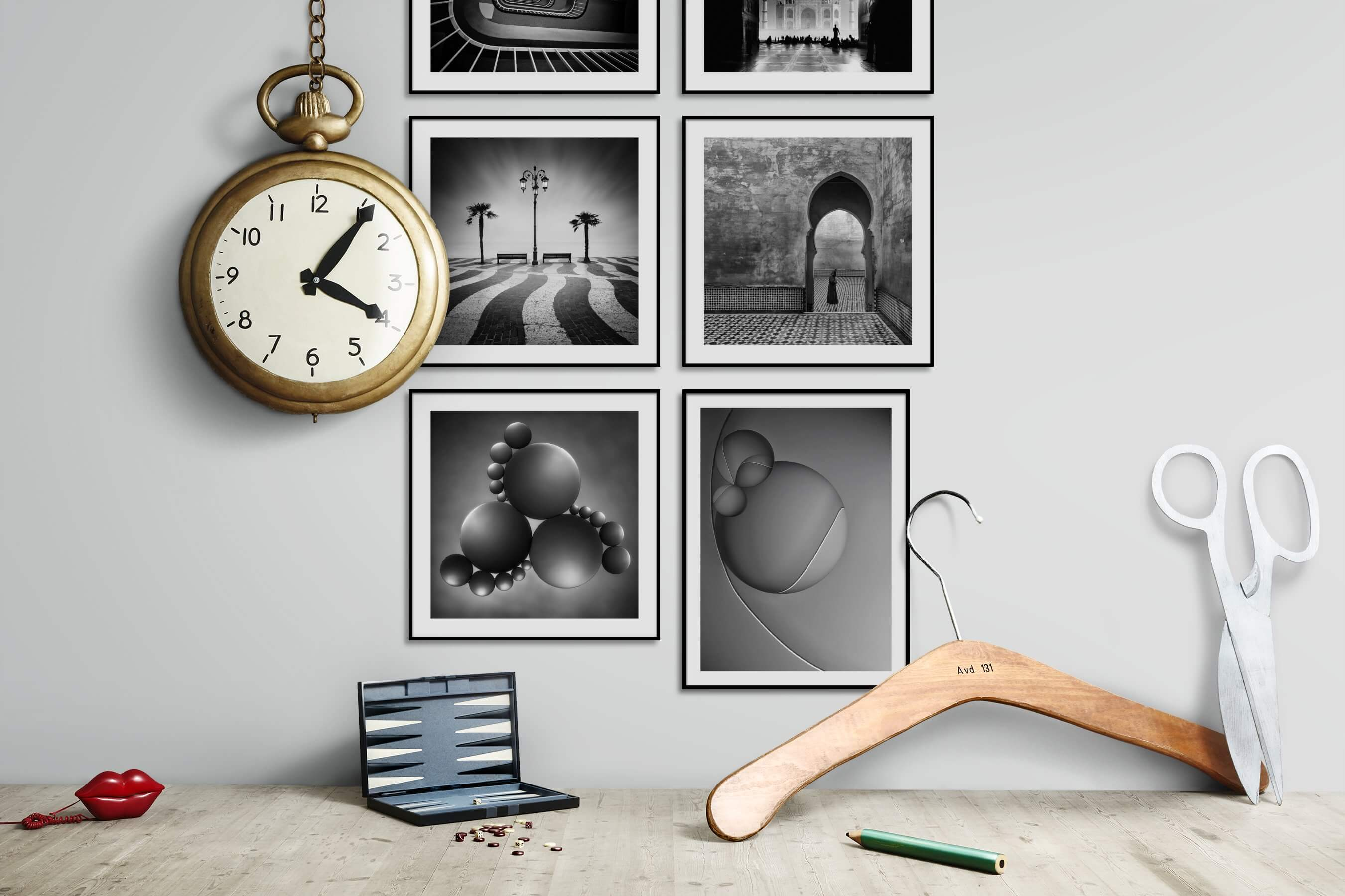 Gallery wall idea with six framed pictures arranged on a wall depicting Black & White, For the Moderate, Artsy, and For the Minimalist