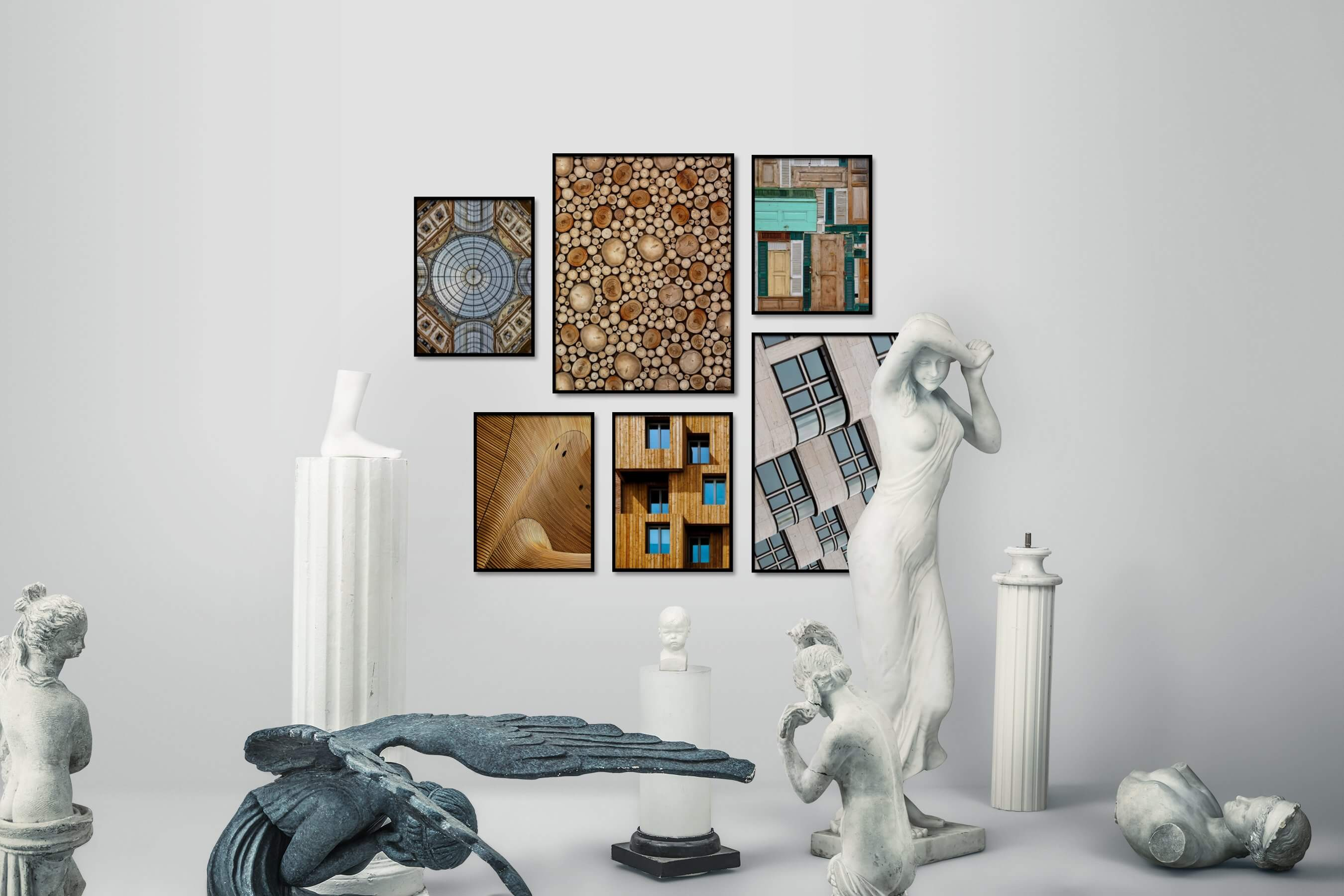Gallery wall idea with six framed pictures arranged on a wall depicting For the Maximalist, Vintage, For the Moderate, City Life, and Colorful