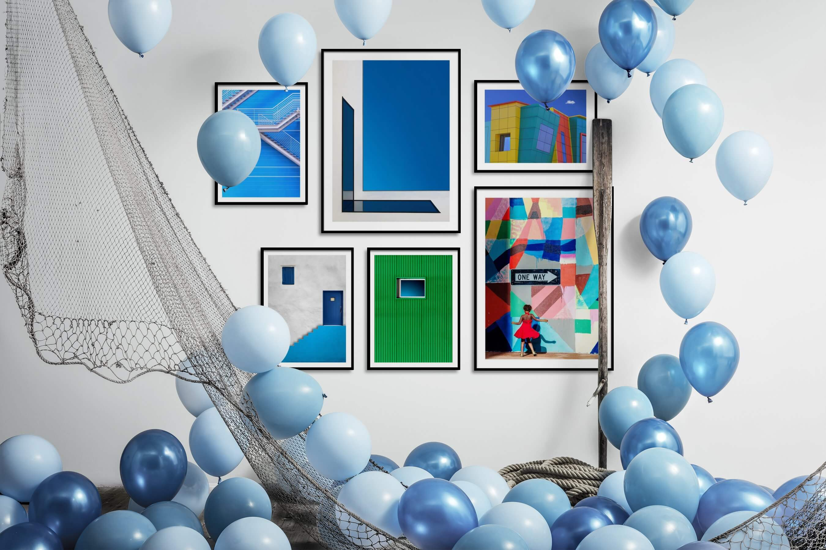 Gallery wall idea with six framed pictures arranged on a wall depicting For the Minimalist, For the Moderate, City Life, Colorful, and For the Maximalist