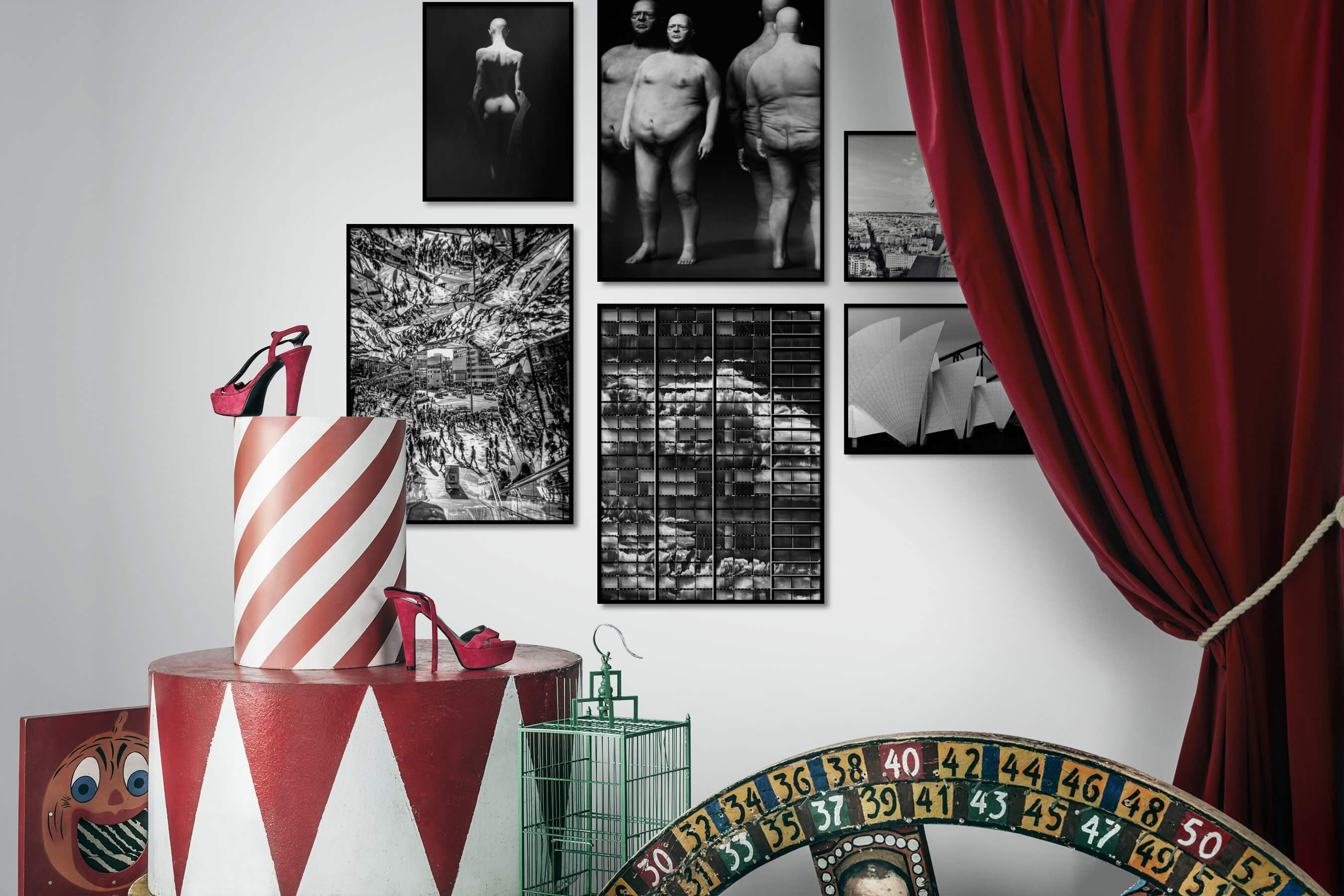 Gallery wall idea with six framed pictures arranged on a wall depicting Fashion & Beauty, Black & White, Dark Tones, For the Minimalist, Artsy, For the Maximalist, City Life, and For the Moderate