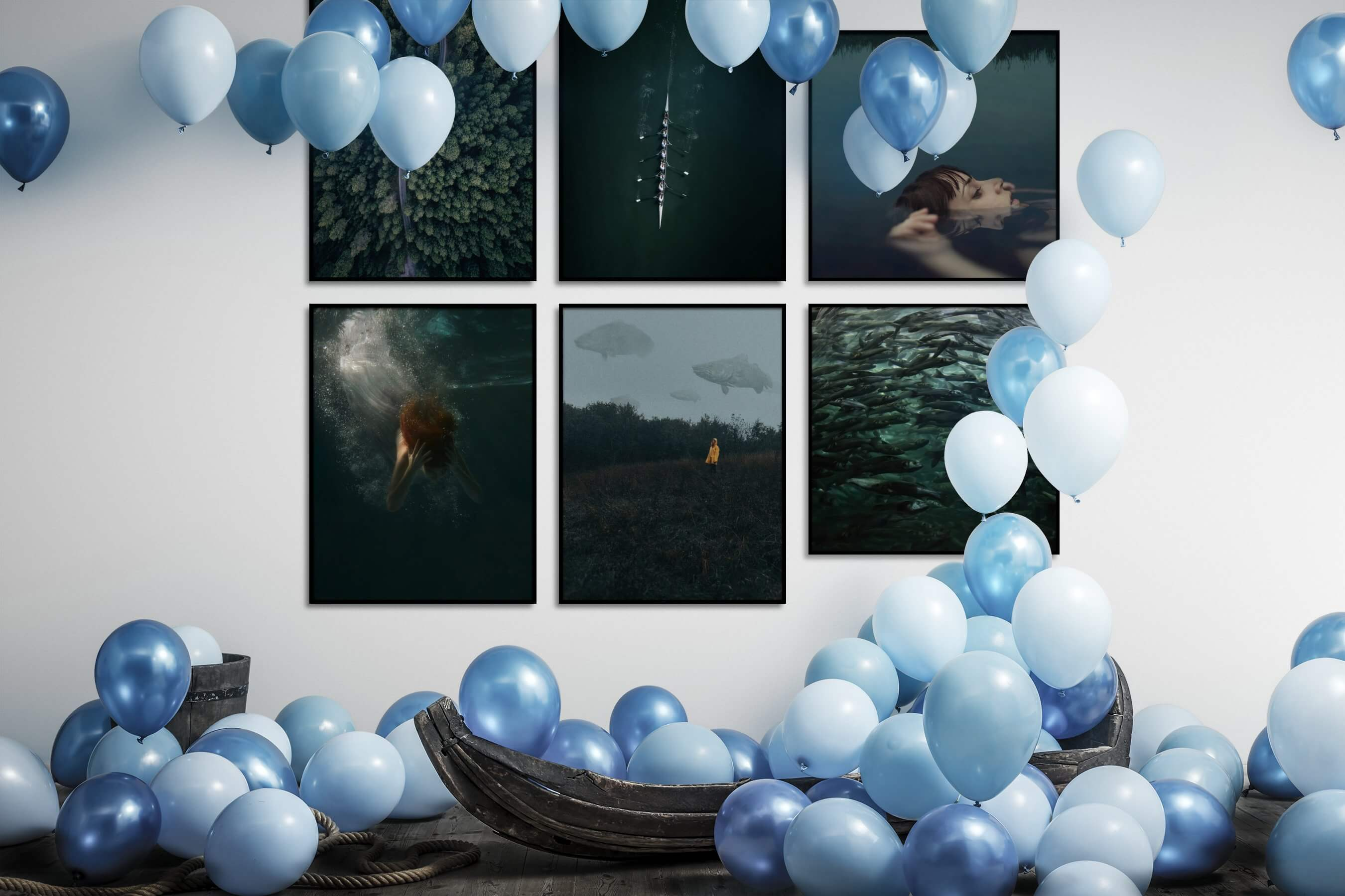 Gallery wall idea with six framed pictures arranged on a wall depicting For the Moderate, Nature, For the Minimalist, Beach & Water, Artsy, Animals, and Country Life