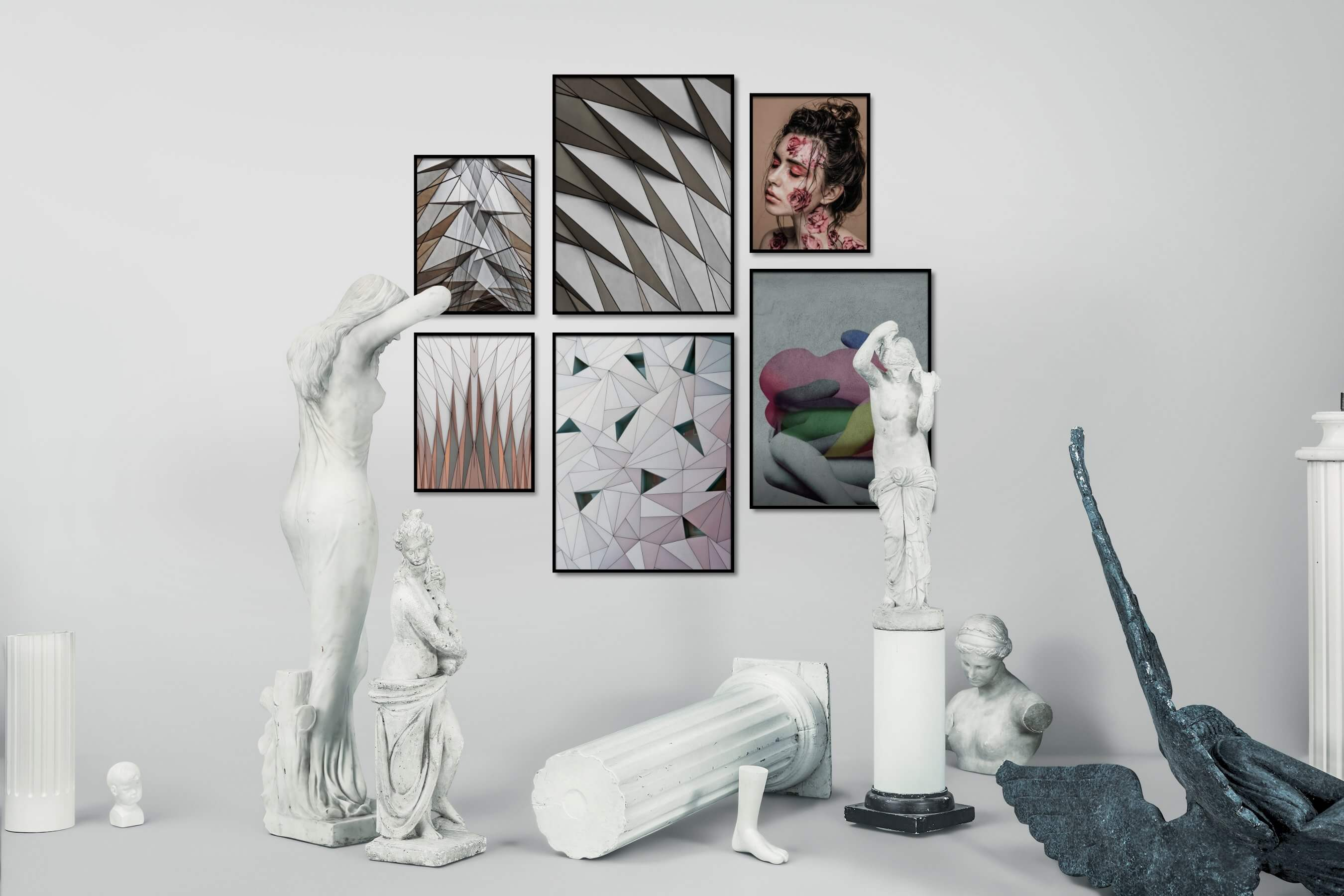 Gallery wall idea with six framed pictures arranged on a wall depicting For the Maximalist, For the Moderate, Fashion & Beauty, and Artsy