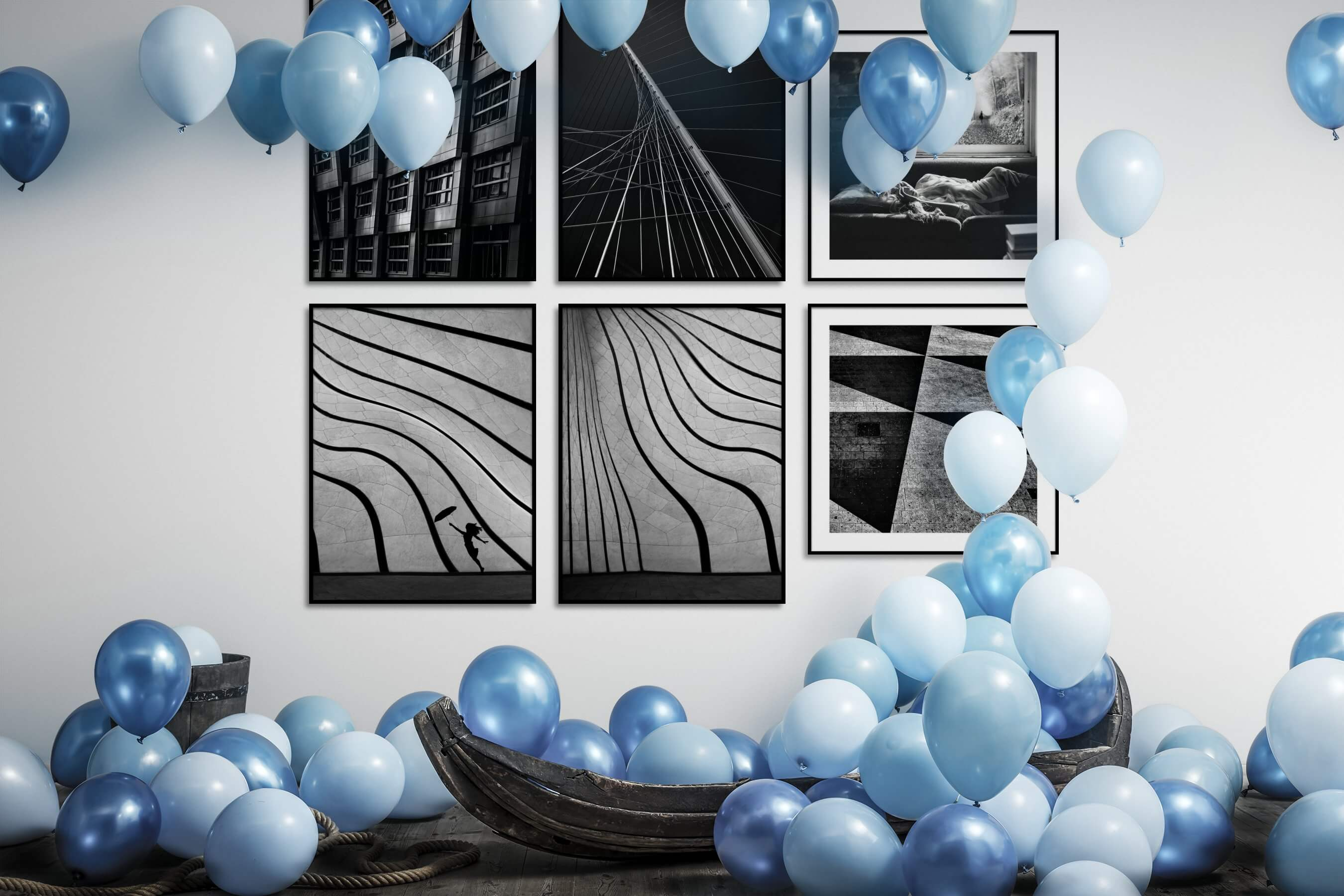 Gallery wall idea with six framed pictures arranged on a wall depicting Black & White, For the Maximalist, City Life, For the Moderate, and Artsy