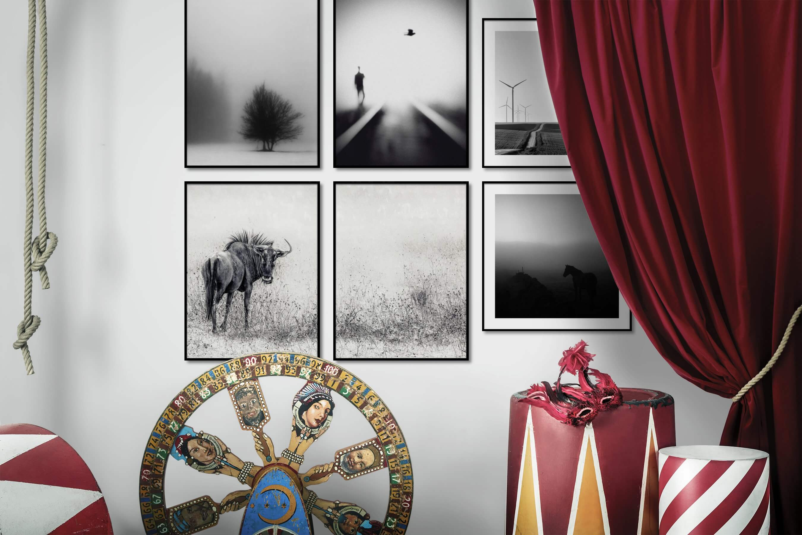 Gallery wall idea with six framed pictures arranged on a wall depicting Black & White, For the Minimalist, Nature, For the Moderate, Animals, and Country Life