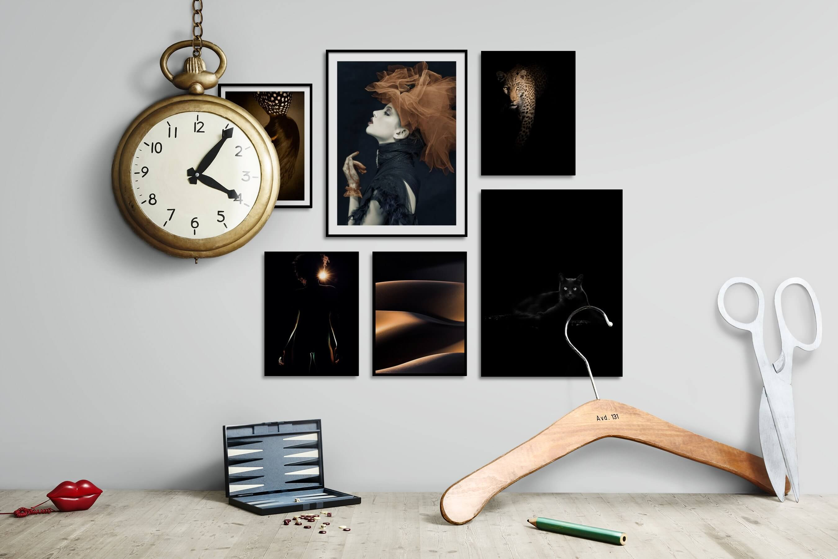 Gallery wall idea with six framed pictures arranged on a wall depicting Artsy, For the Moderate, Fashion & Beauty, Vintage, Dark Tones, For the Minimalist, Nature, Animals, and Black & White