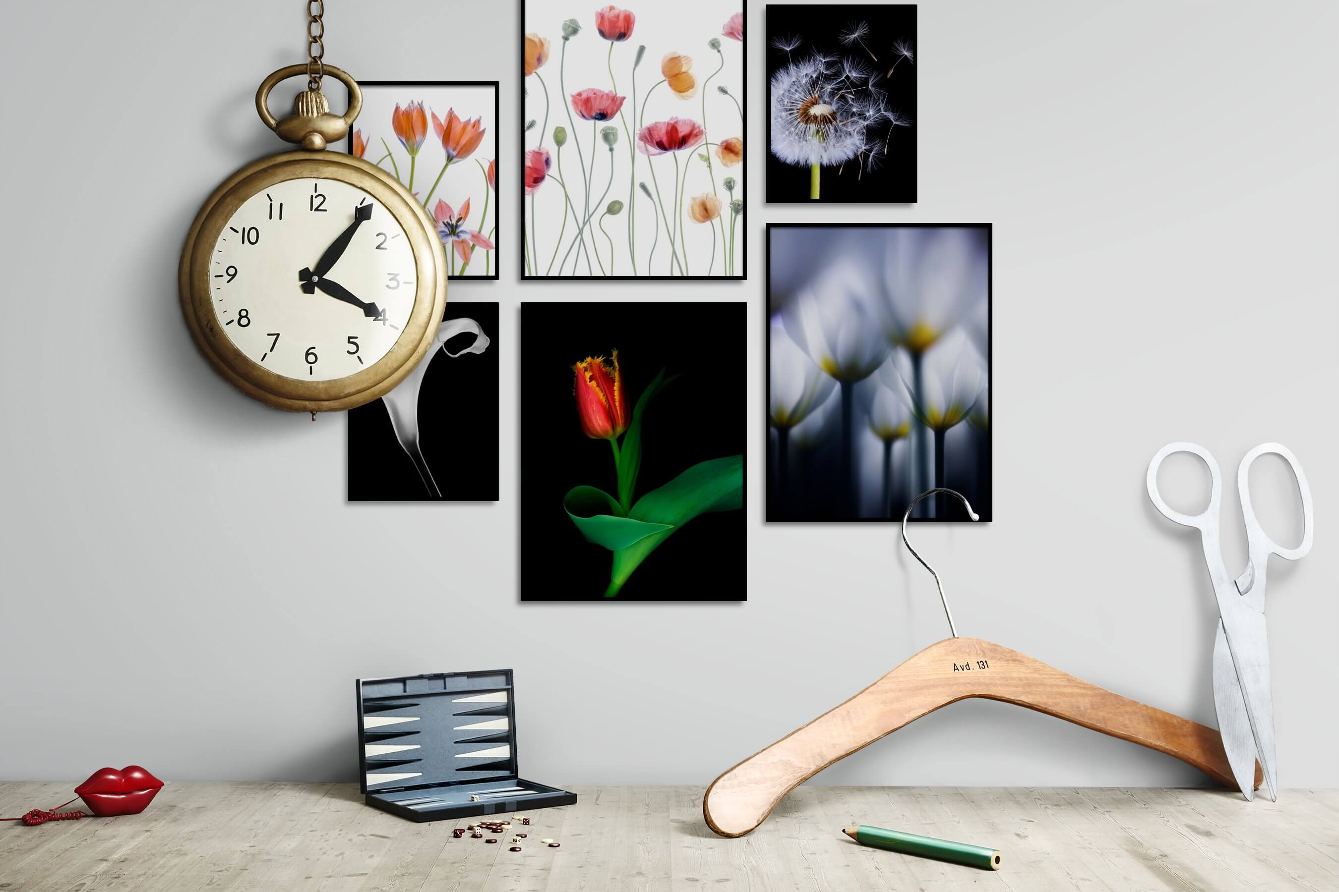 Gallery wall idea with six framed pictures arranged on a wall depicting Bright Tones, Flowers & Plants, Black & White, Dark Tones, For the Minimalist, Mindfulness, and For the Moderate