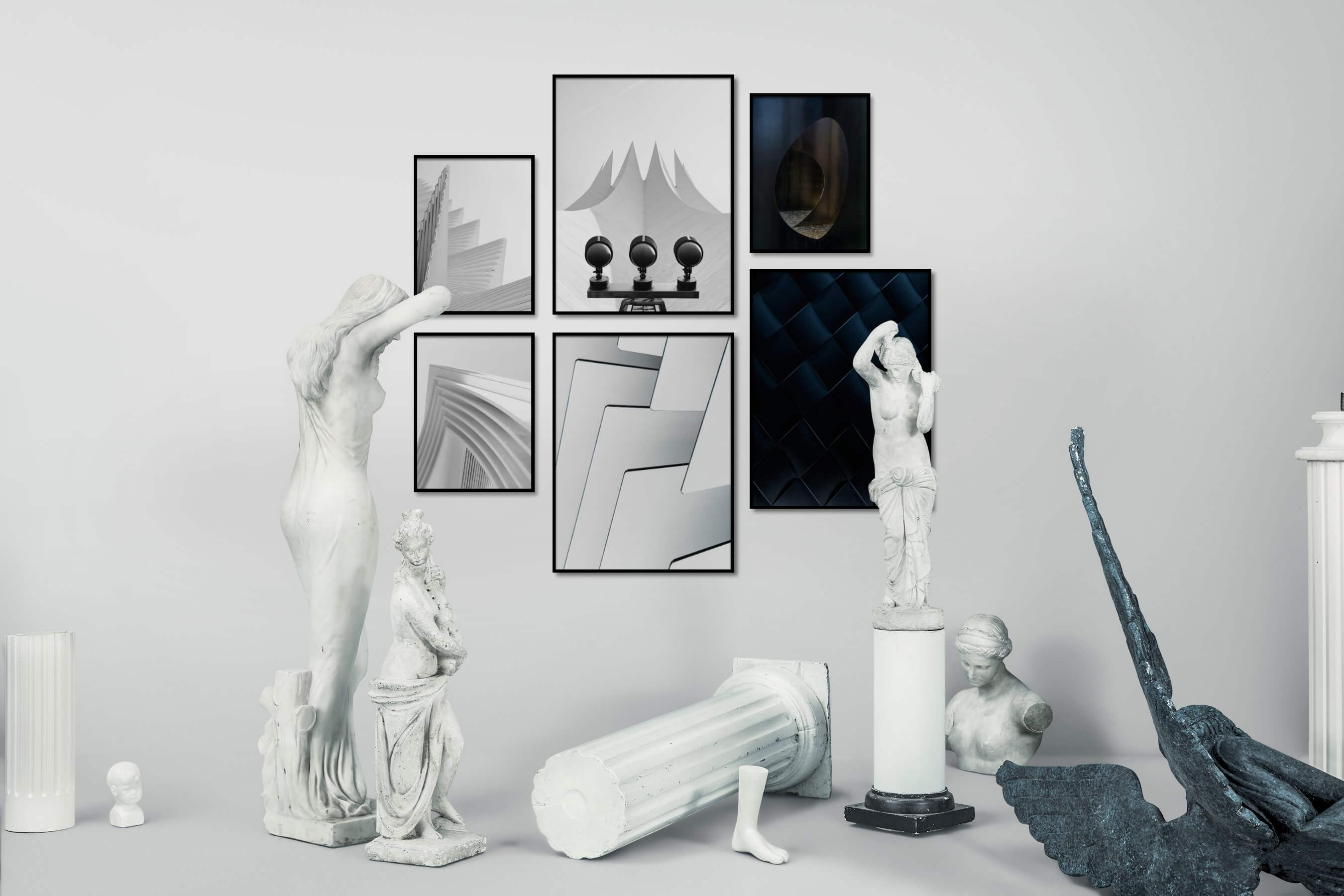 Gallery wall idea with six framed pictures arranged on a wall depicting Black & White, For the Minimalist, Bright Tones, For the Moderate, and Dark Tones