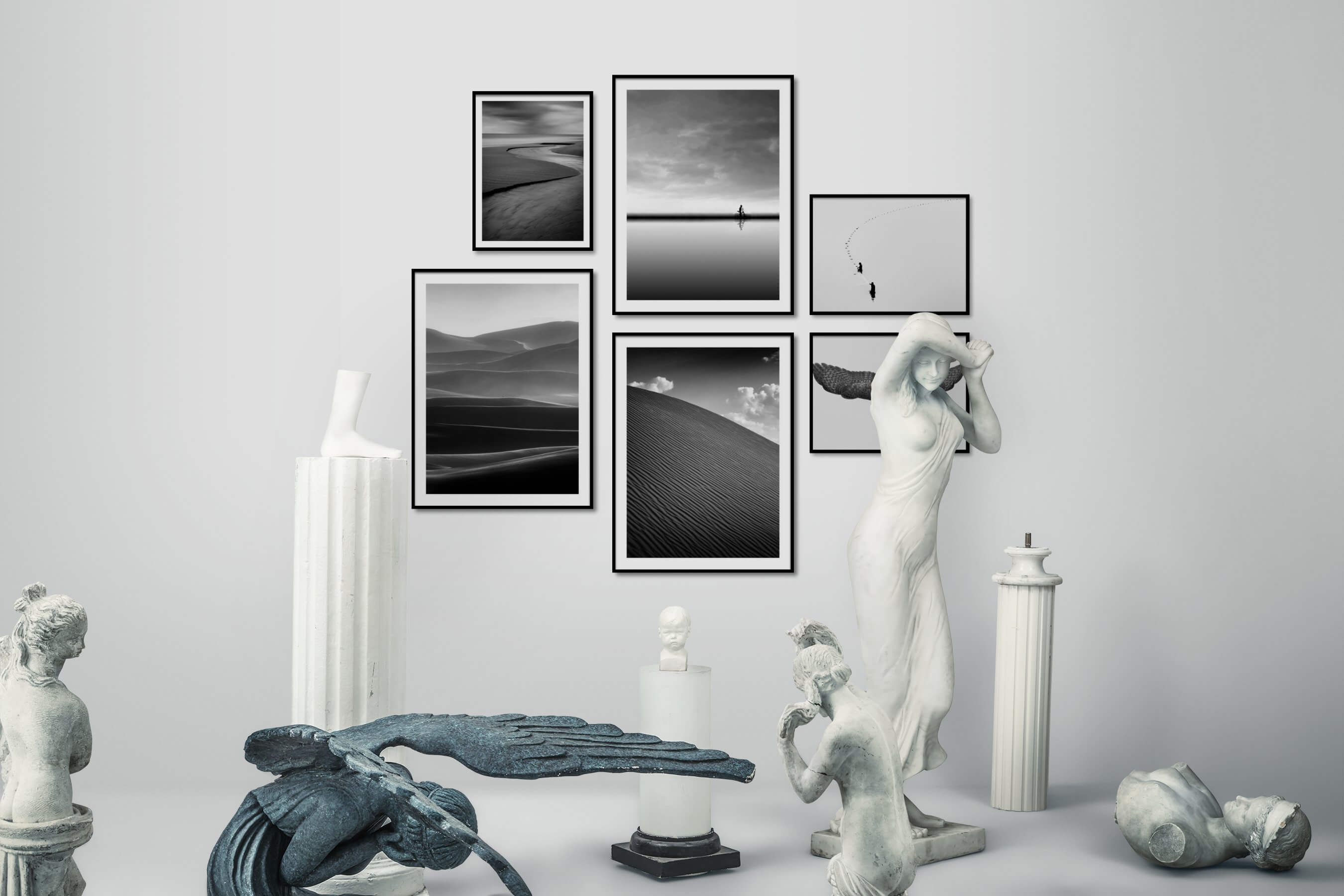 Gallery wall idea with six framed pictures arranged on a wall depicting Black & White, Beach & Water, For the Minimalist, Country Life, Mindfulness, For the Moderate, Nature, Bright Tones, and Animals
