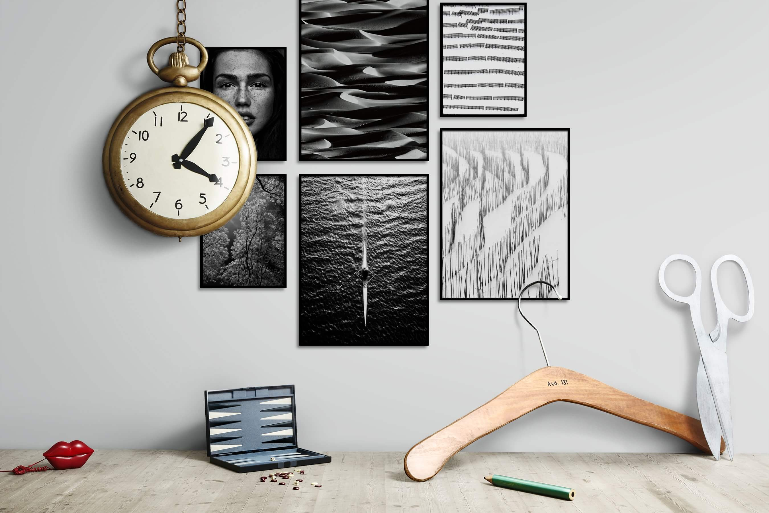 Gallery wall idea with six framed pictures arranged on a wall depicting Fashion & Beauty, Black & White, Dark Tones, For the Maximalist, Nature, For the Moderate, and Beach & Water
