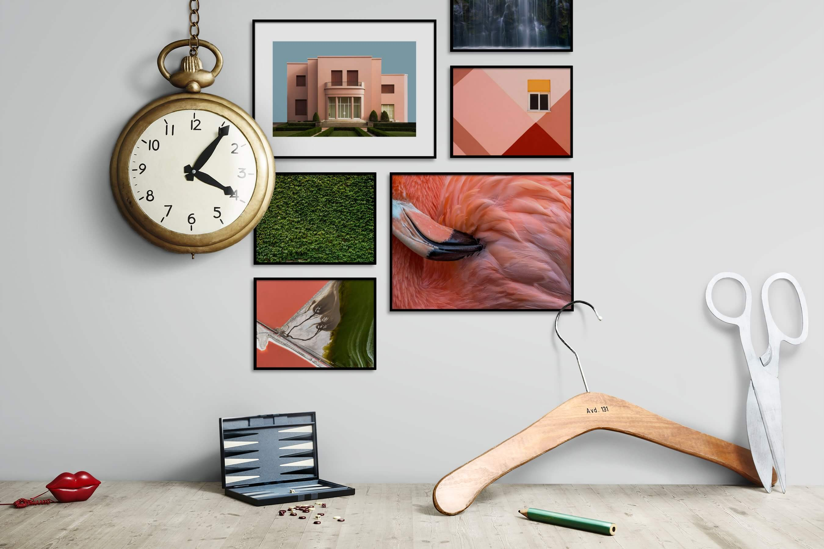 Gallery wall idea with six framed pictures arranged on a wall depicting For the Moderate, For the Maximalist, Flowers & Plants, Animals, Nature, and Mindfulness