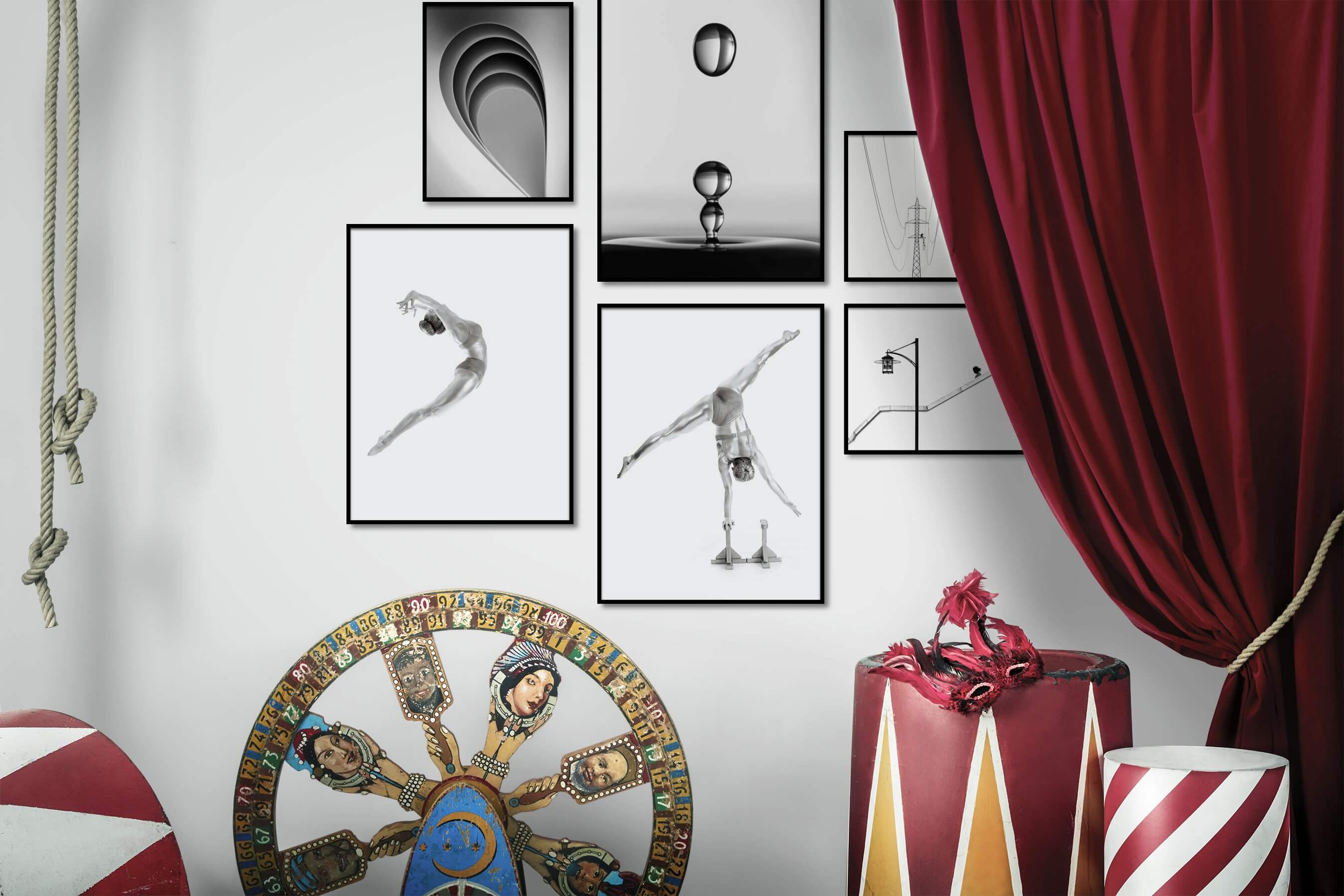 Gallery wall idea with six framed pictures arranged on a wall depicting Black & White, For the Minimalist, Mindfulness, Fashion & Beauty, Bright Tones, and City Life