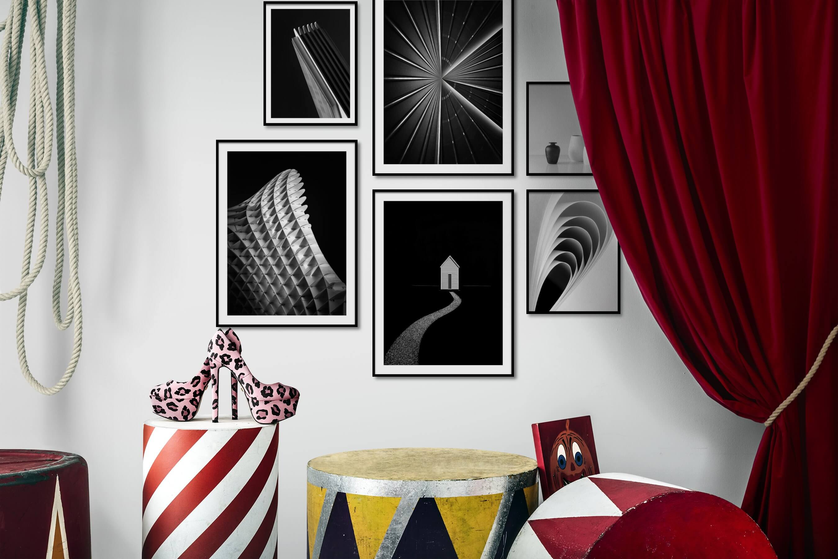 Gallery wall idea with six framed pictures arranged on a wall depicting Black & White, For the Minimalist, For the Maximalist, Flowers & Plants, and For the Moderate