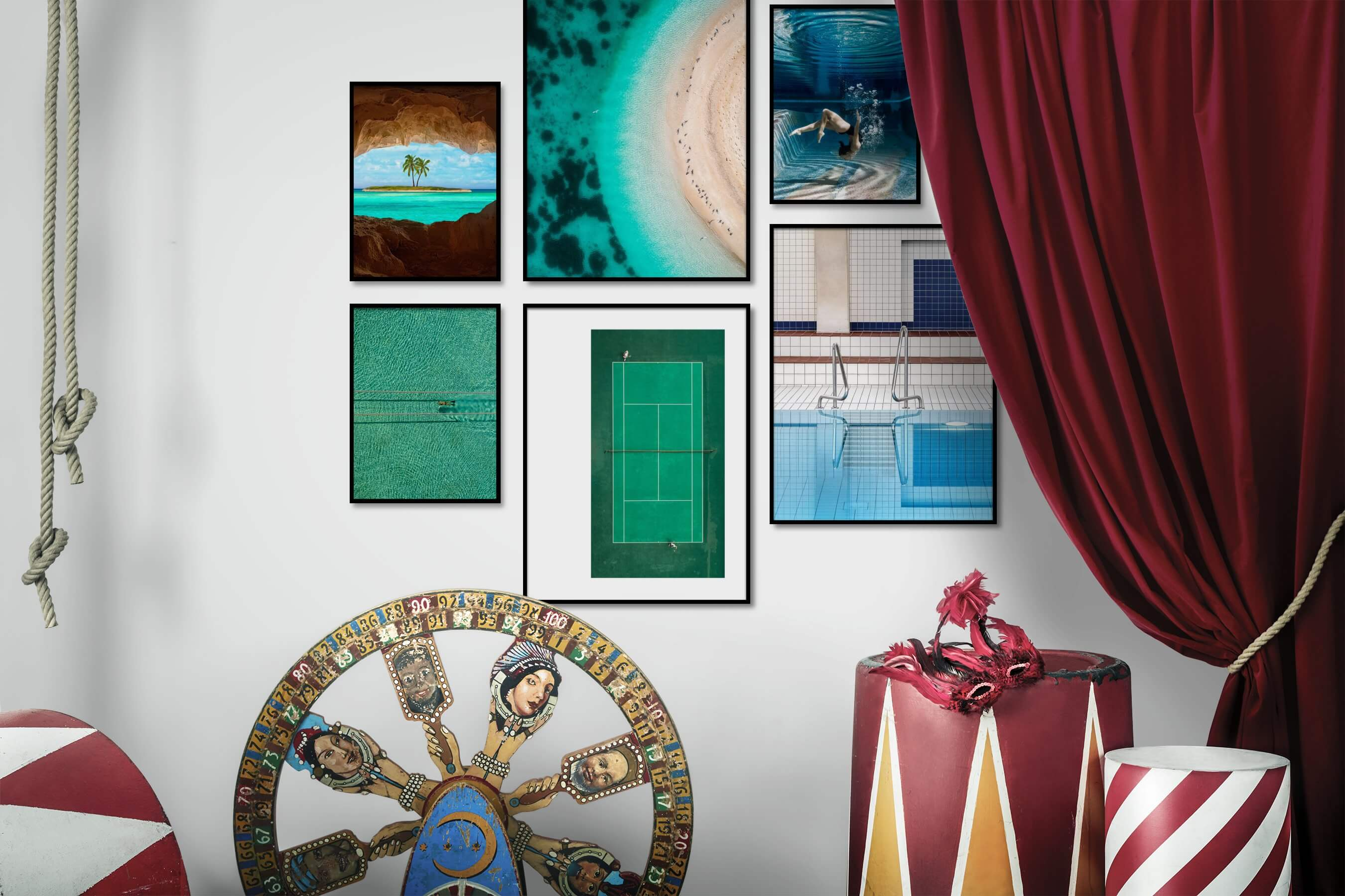 Gallery wall idea with six framed pictures arranged on a wall depicting Beach & Water, Mindfulness, Colorful, For the Moderate, and Fashion & Beauty