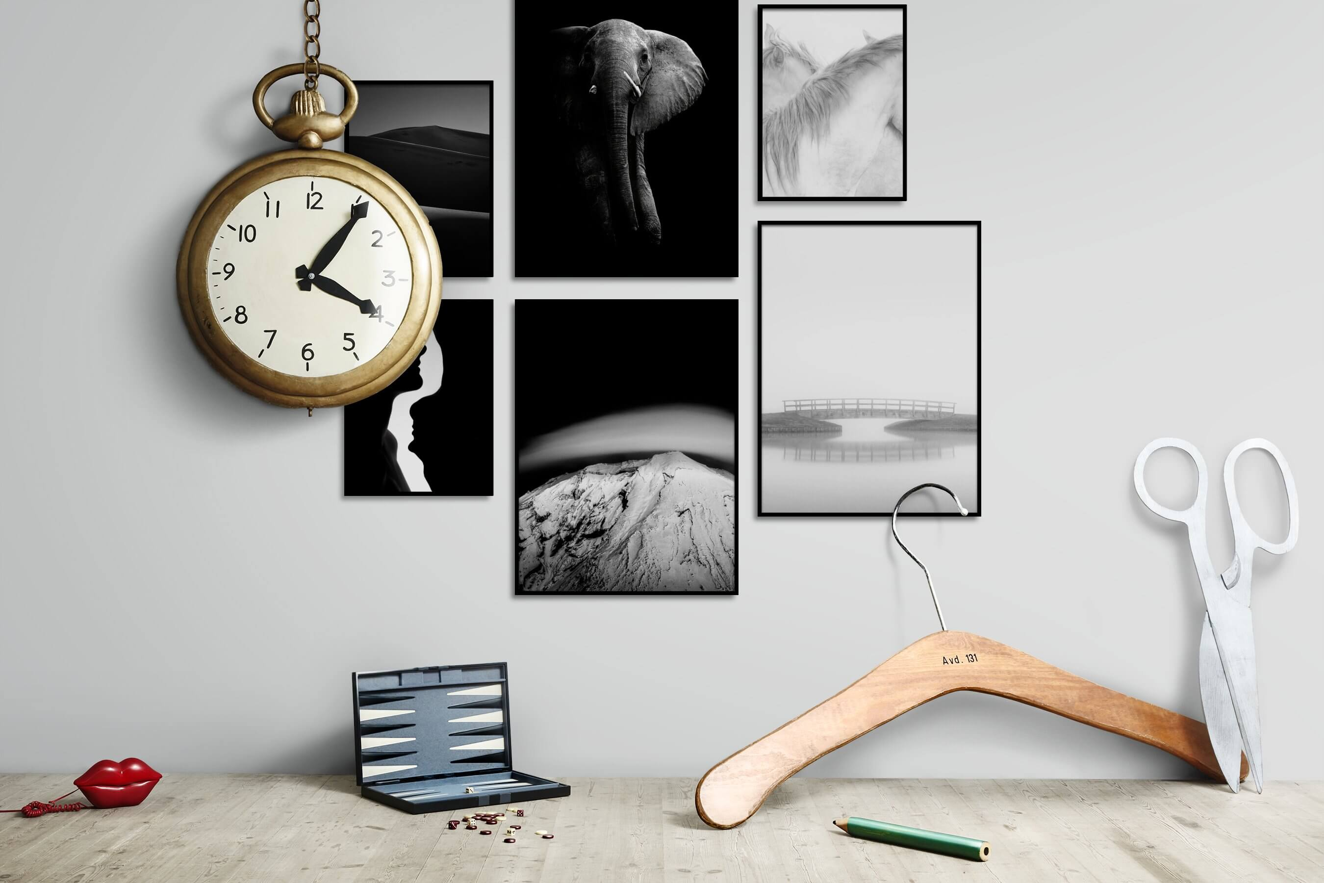 Gallery wall idea with six framed pictures arranged on a wall depicting Black & White, Dark Tones, For the Moderate, Nature, For the Minimalist, Animals, Mindfulness, Bright Tones, and Country Life