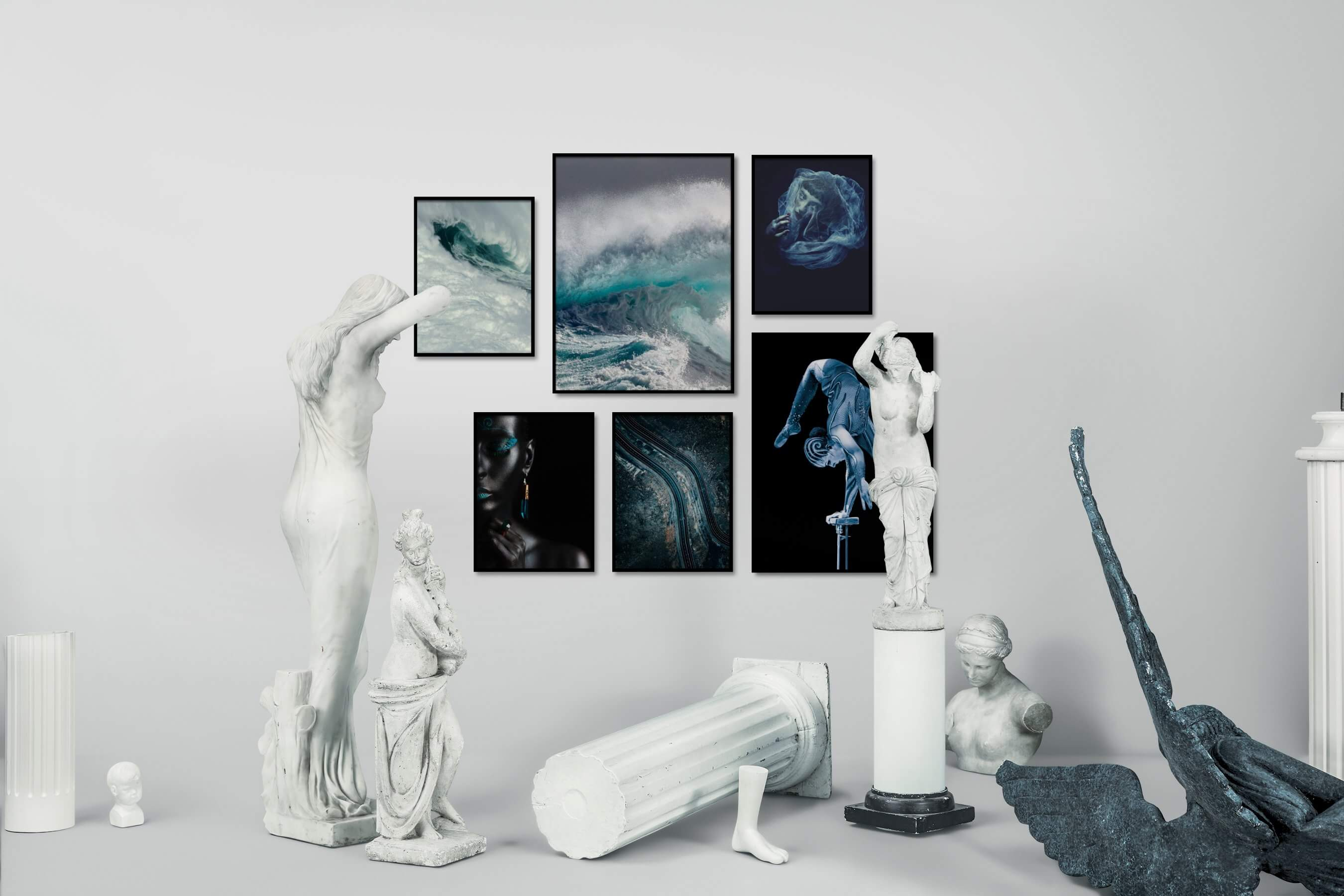 Gallery wall idea with six framed pictures arranged on a wall depicting Beach & Water, Fashion & Beauty, Dark Tones, For the Moderate, Country Life, and For the Minimalist