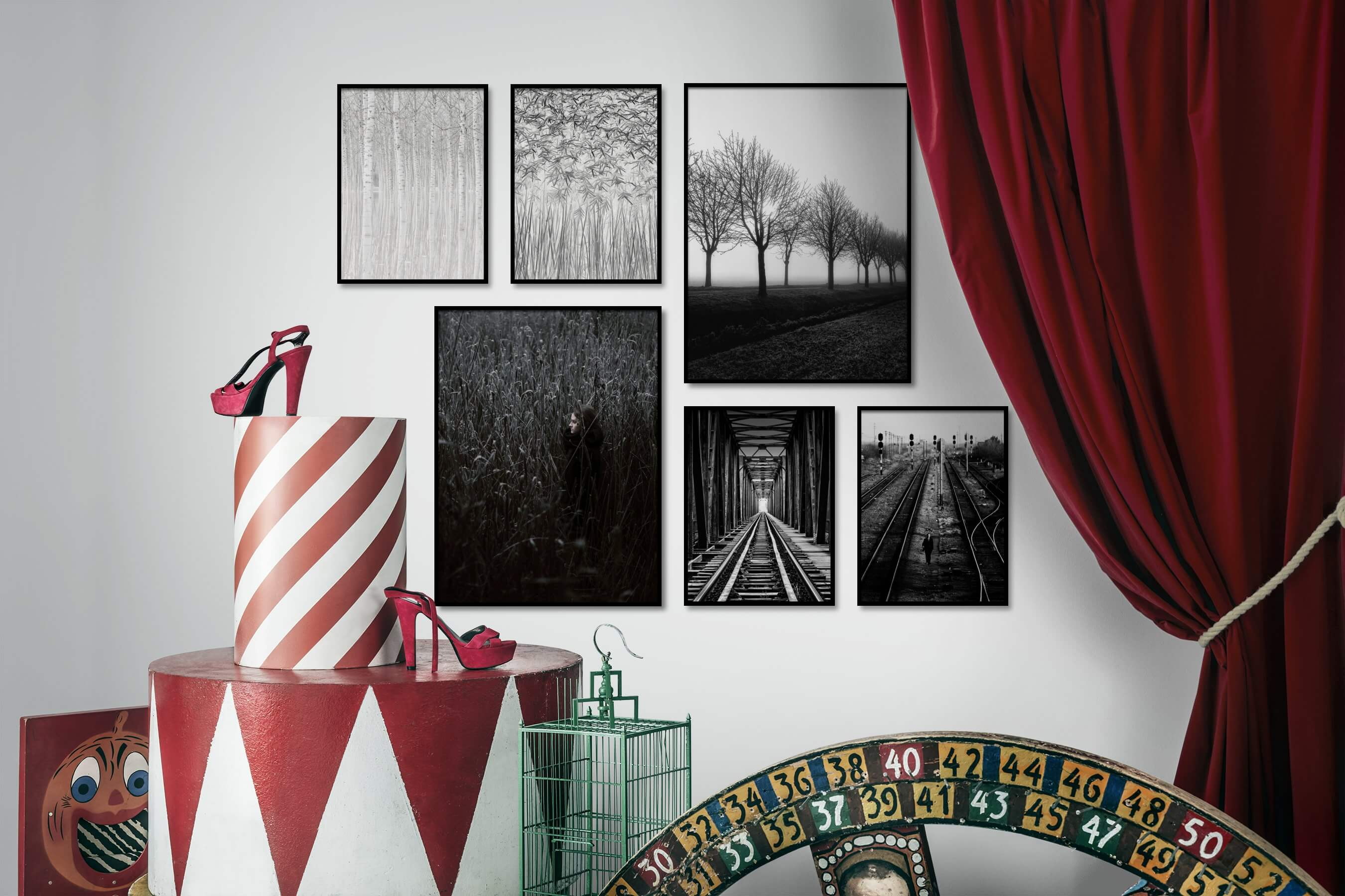Gallery wall idea with six framed pictures arranged on a wall depicting Black & White, For the Moderate, Nature, For the Maximalist, and Country Life