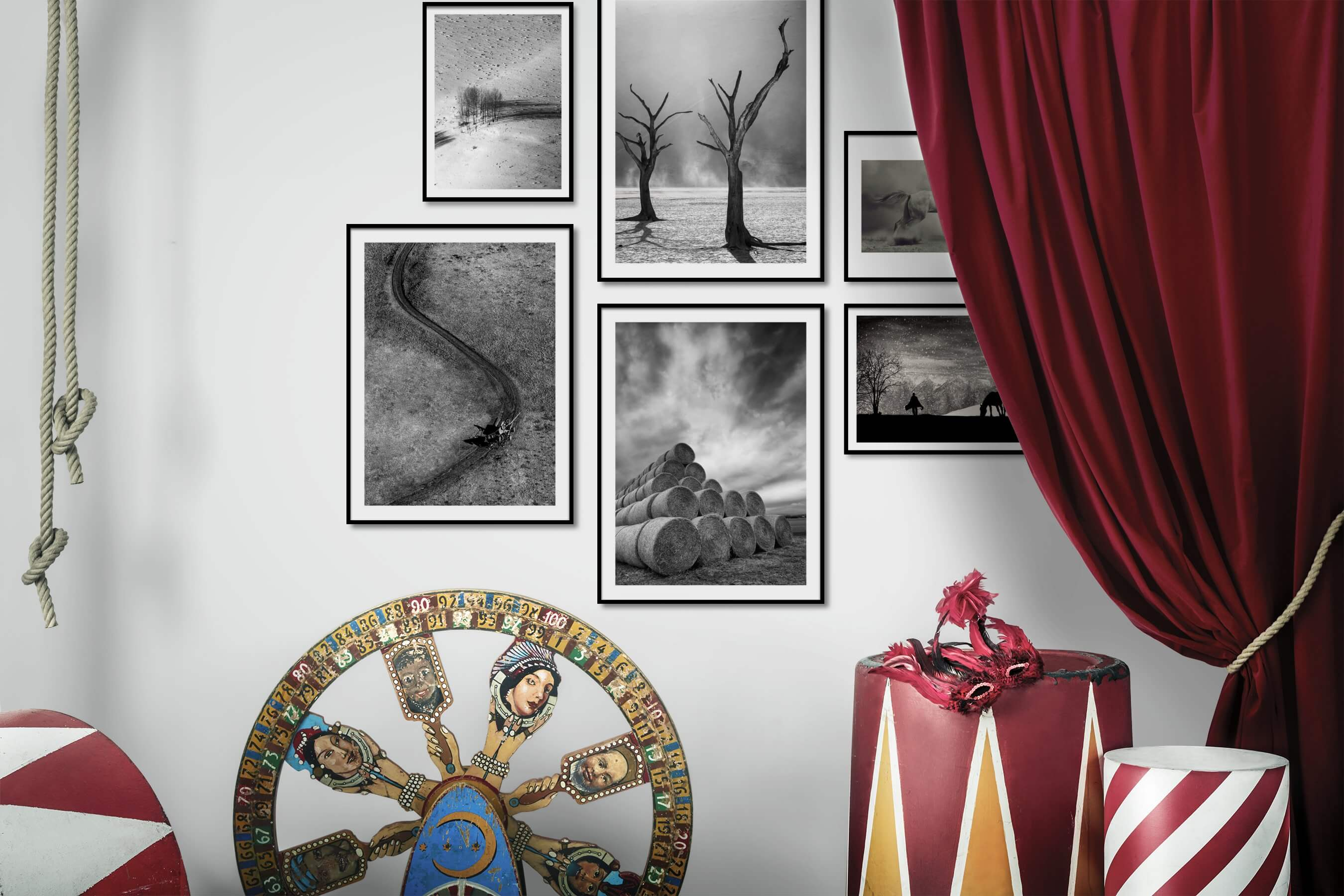 Gallery wall idea with six framed pictures arranged on a wall depicting Black & White, Nature, For the Minimalist, Country Life, For the Moderate, and Animals