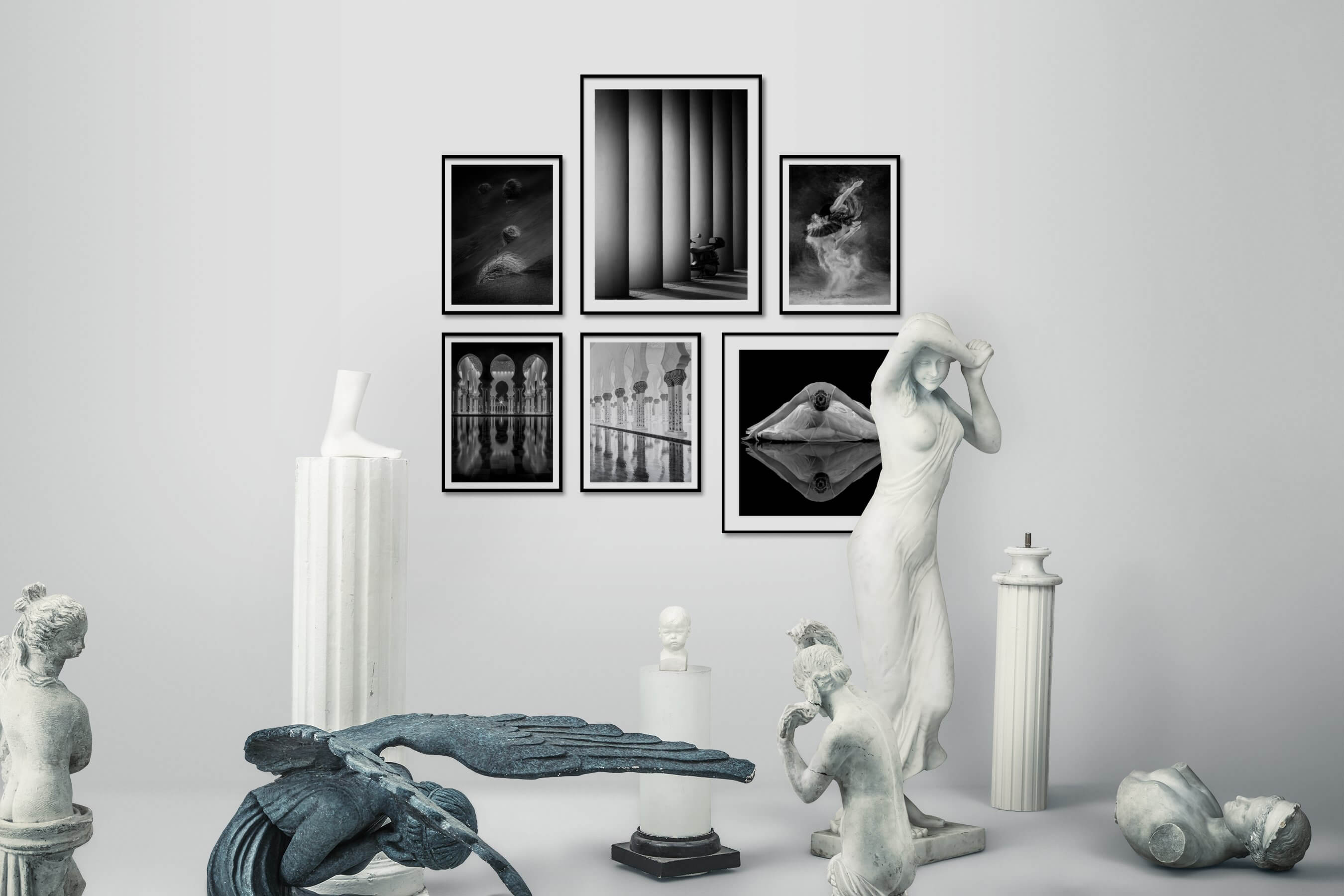 Gallery wall idea with six framed pictures arranged on a wall depicting Black & White, For the Minimalist, Nature, For the Moderate, City Life, and Fashion & Beauty