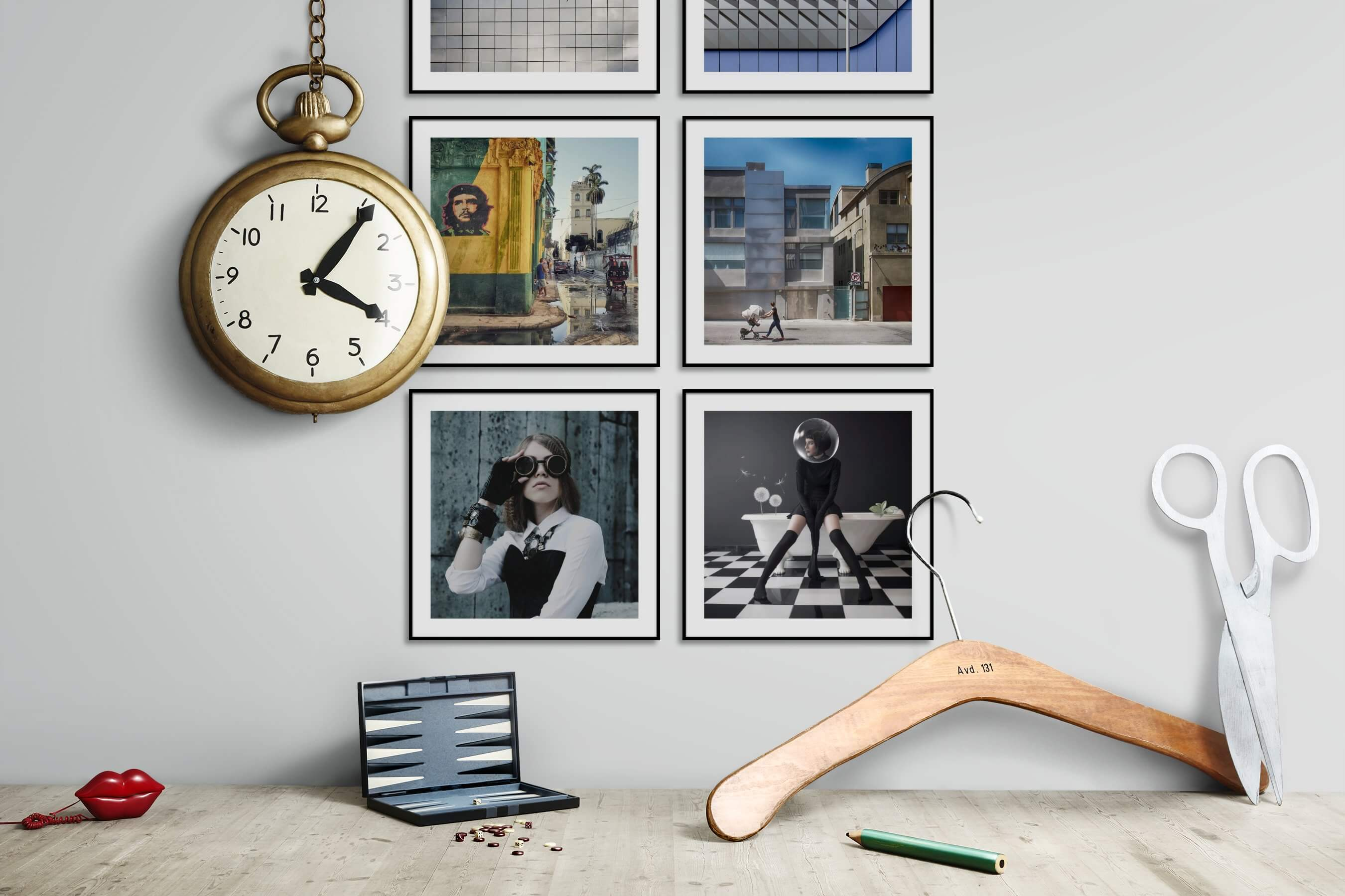 Gallery wall idea with six framed pictures arranged on a wall depicting For the Moderate, For the Maximalist, City Life, Vintage, Fashion & Beauty, and Artsy