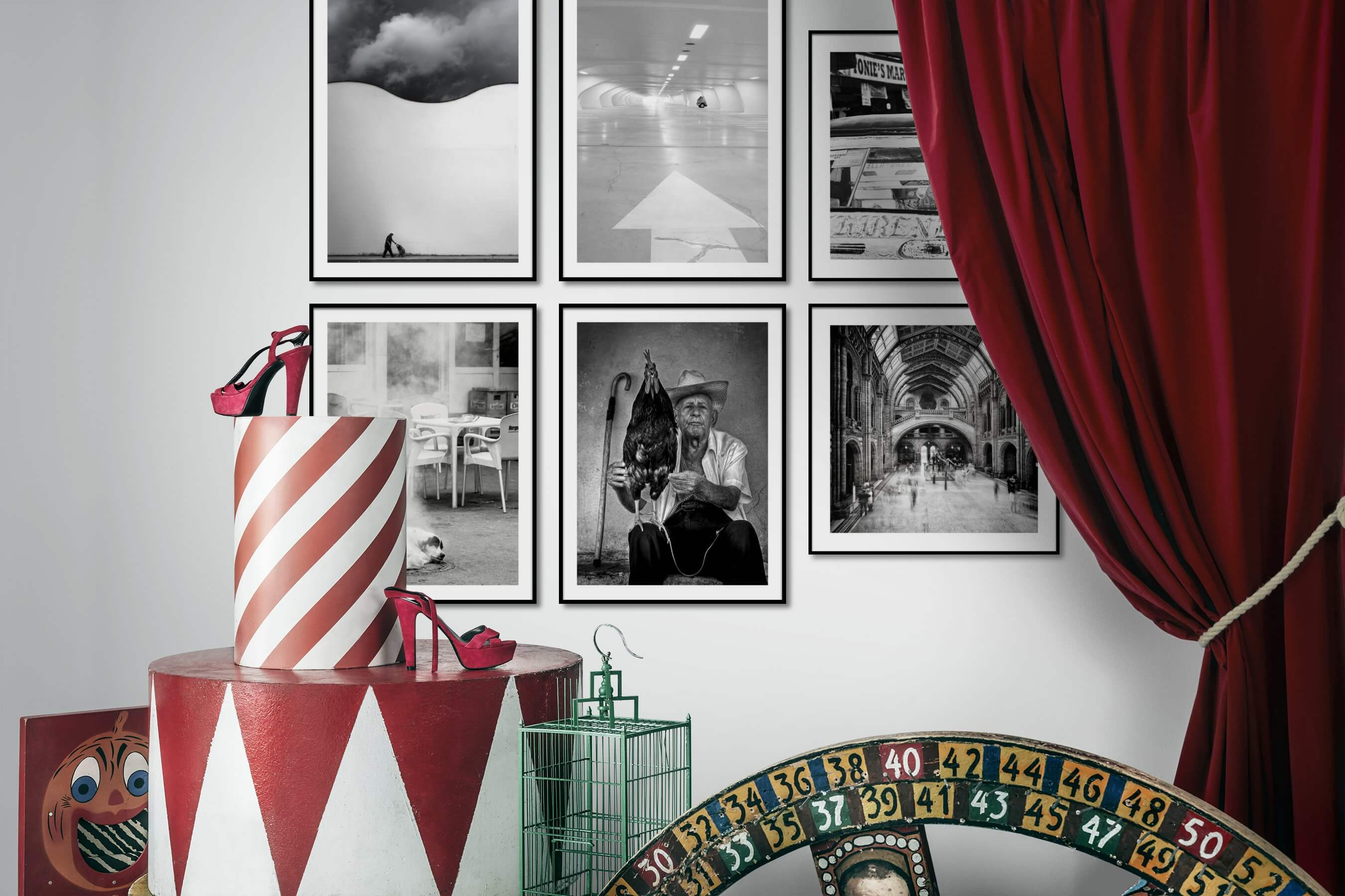 Gallery wall idea with six framed pictures arranged on a wall depicting Black & White, For the Minimalist, City Life, For the Moderate, and Animals