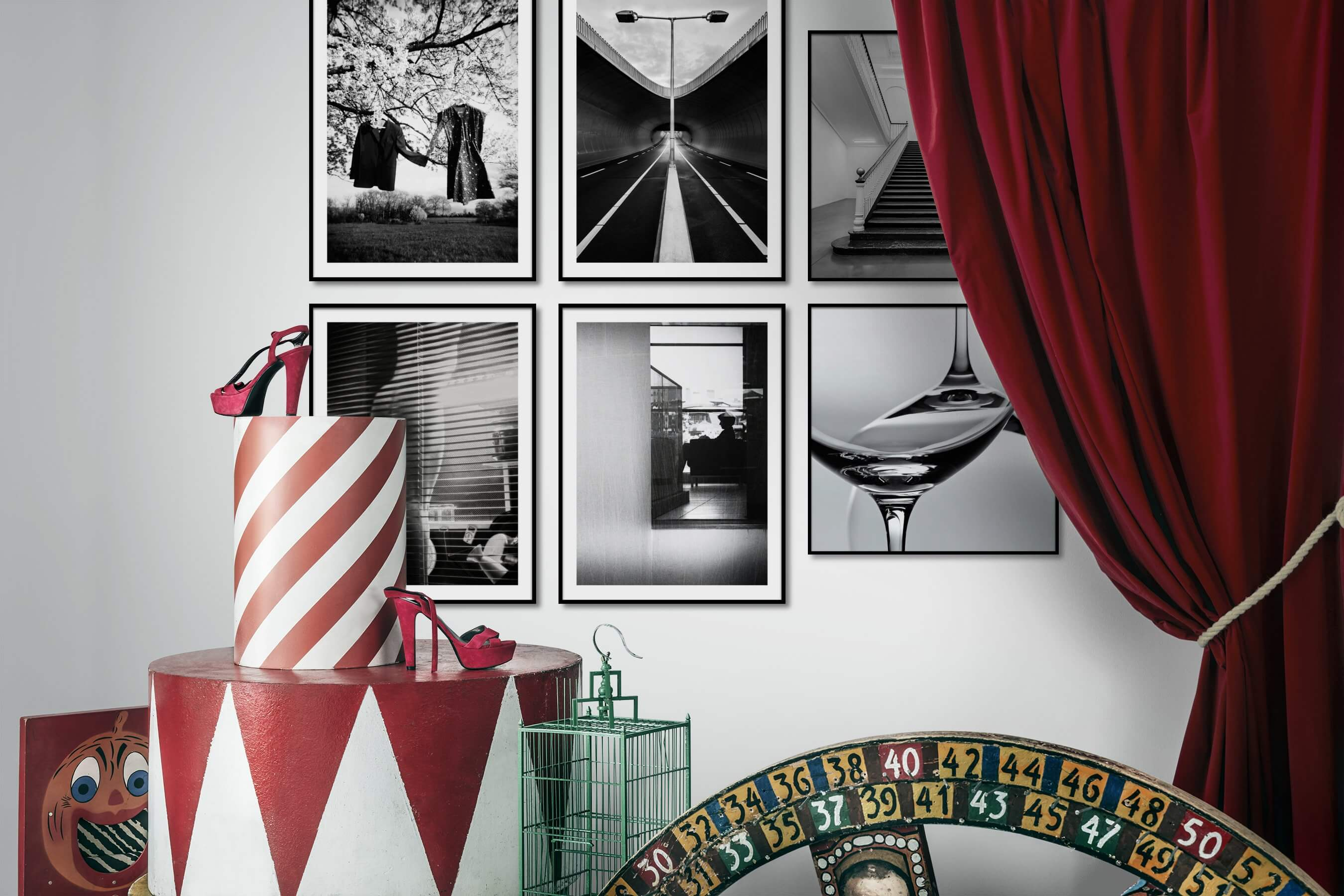 Gallery wall idea with six framed pictures arranged on a wall depicting Artsy, Black & White, Country Life, For the Moderate, City Life, and For the Minimalist