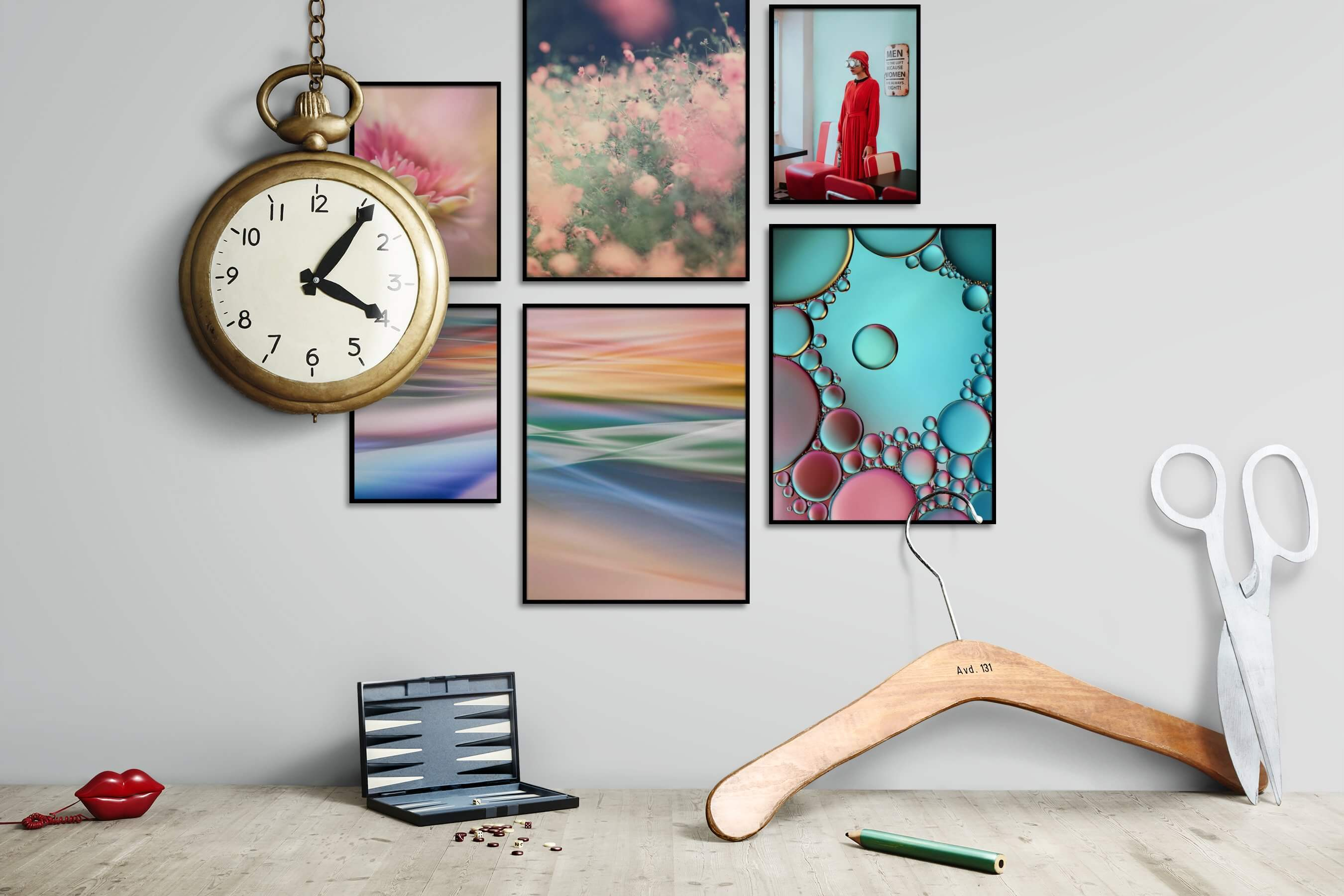 Gallery wall idea with six framed pictures arranged on a wall depicting Flowers & Plants, Mindfulness, Colorful, For the Moderate, Artsy, and Vintage