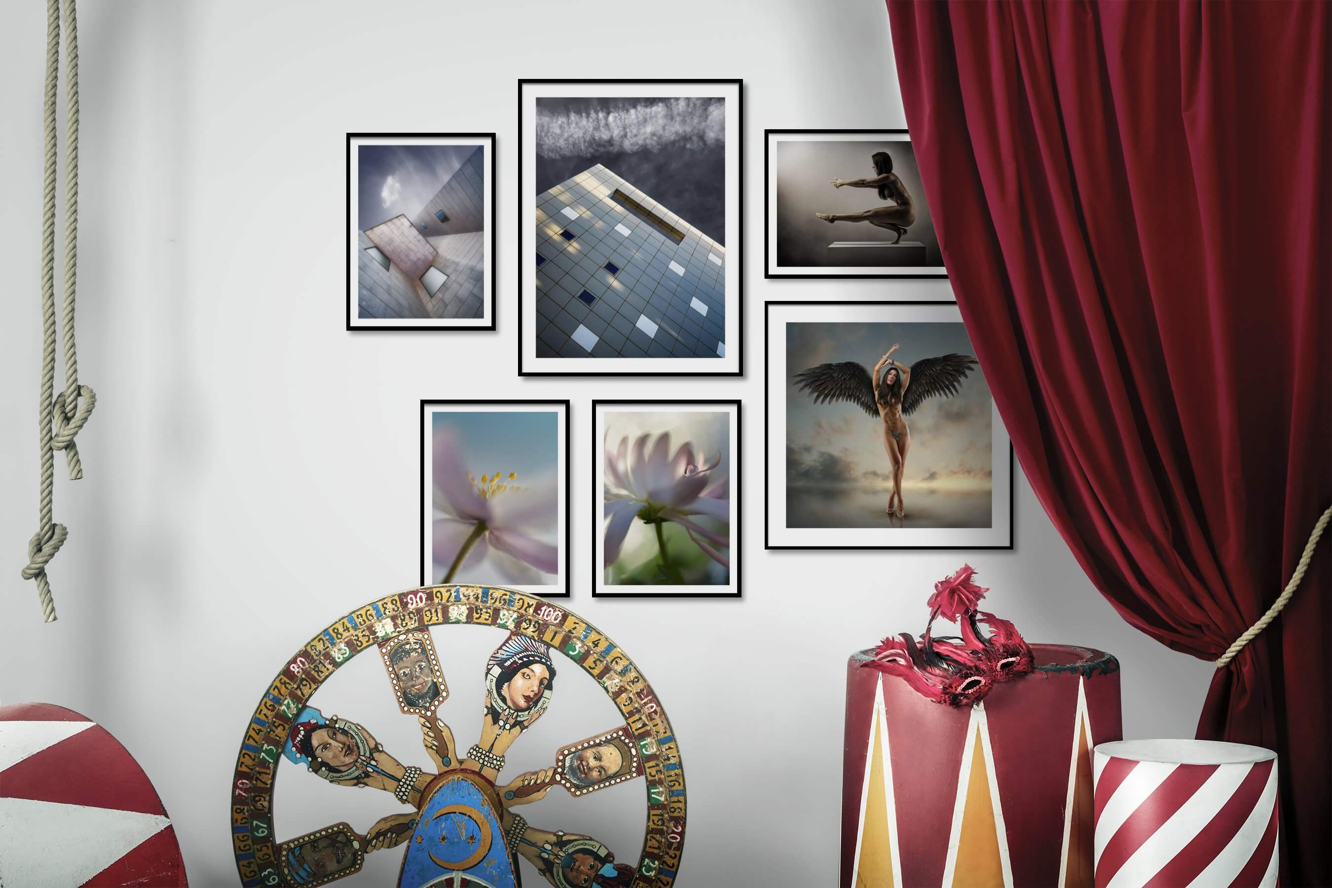 Gallery wall idea with six framed pictures arranged on a wall depicting For the Moderate, Flowers & Plants, Fashion & Beauty, and Artsy