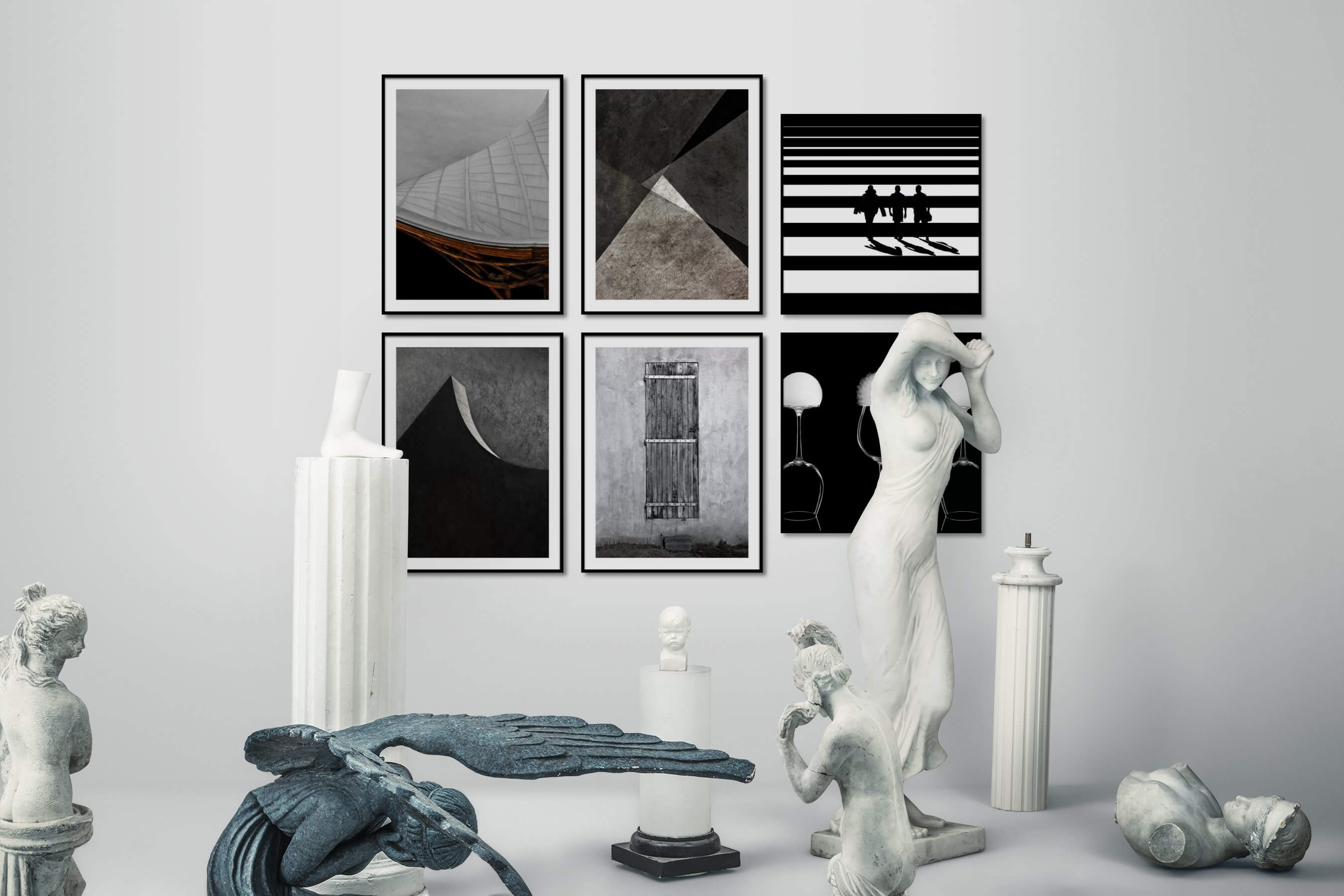 Gallery wall idea with six framed pictures arranged on a wall depicting For the Moderate, Black & White, For the Minimalist, Country Life, and Dark Tones